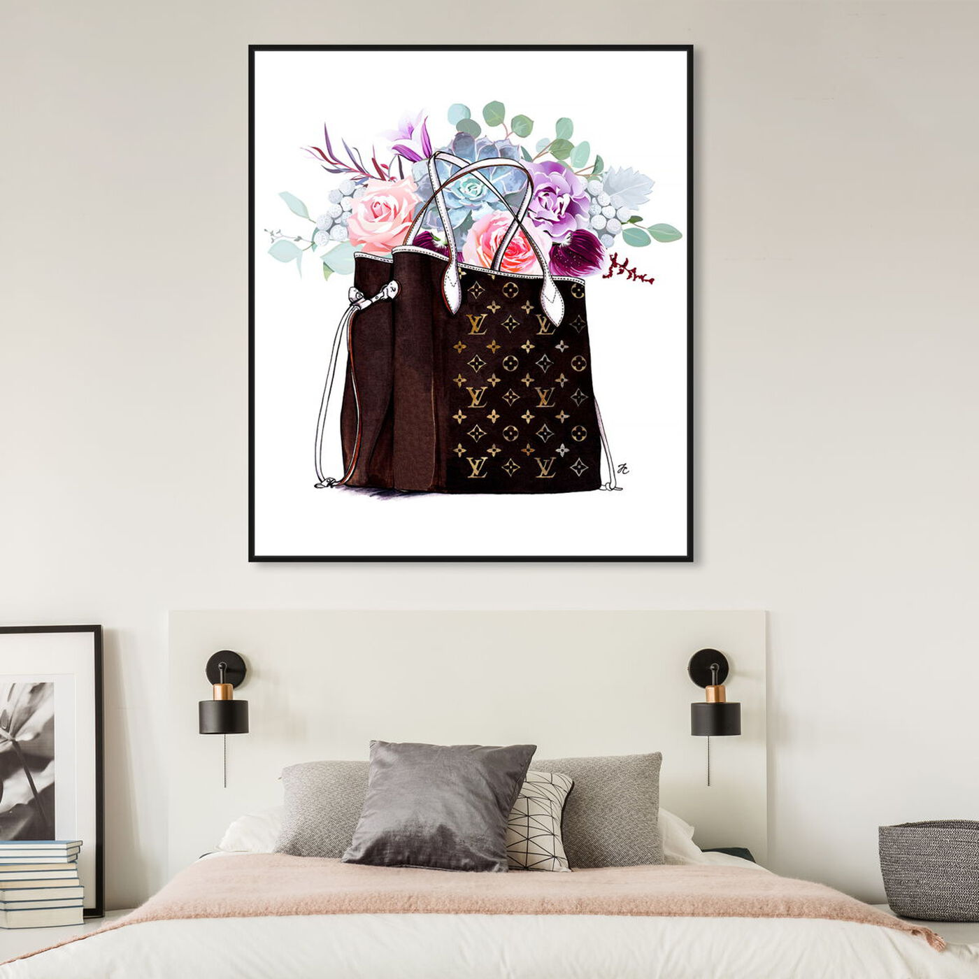 Hanging view of Doll Memories - Fashion Flowered Hand Bag featuring fashion and glam and handbags art.
