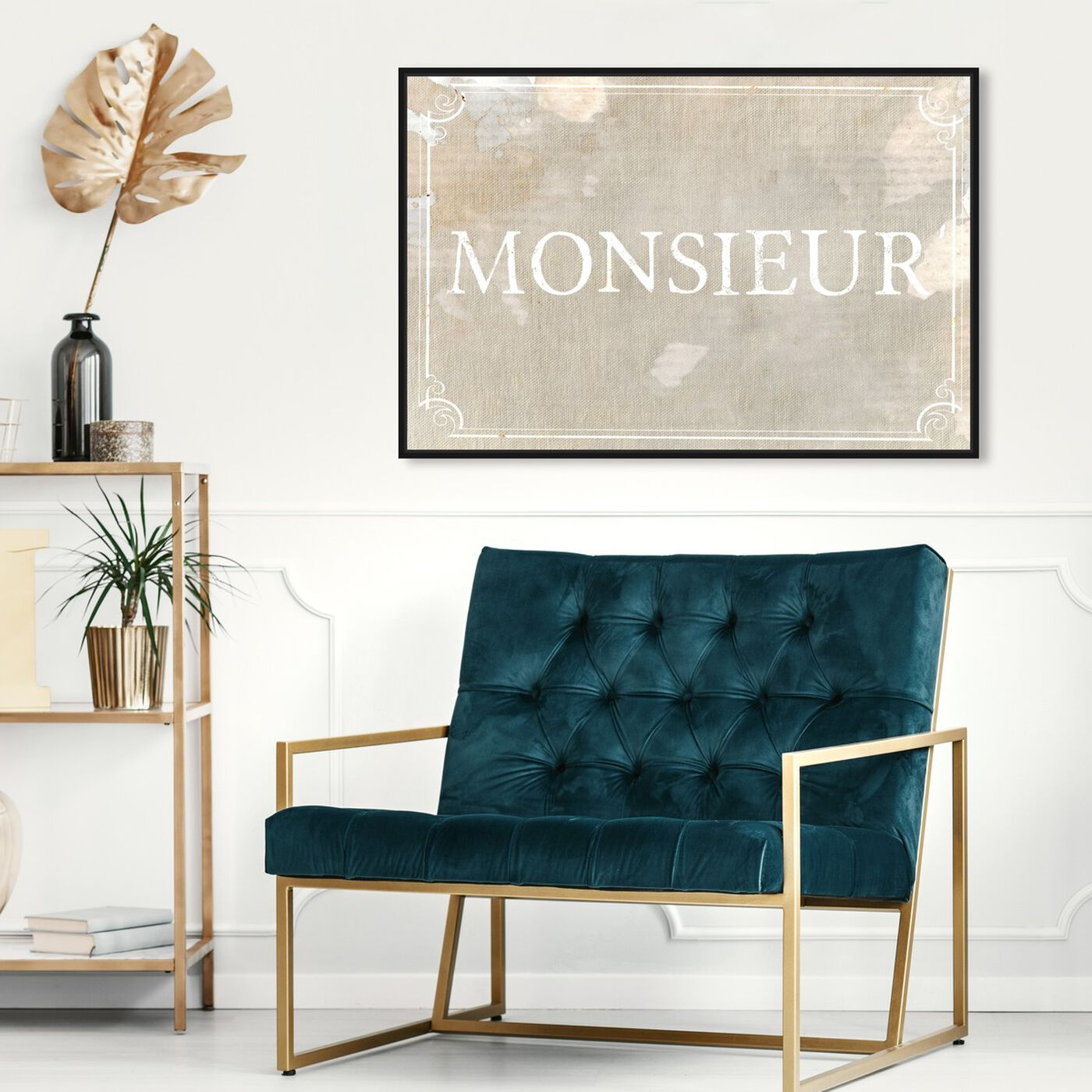 Hanging view of Monsieur featuring typography and quotes and quotes and sayings art.