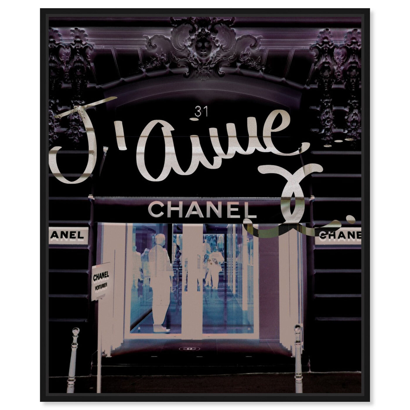 Front view of 31 Rue Cambon featuring fashion and glam and road signs art.