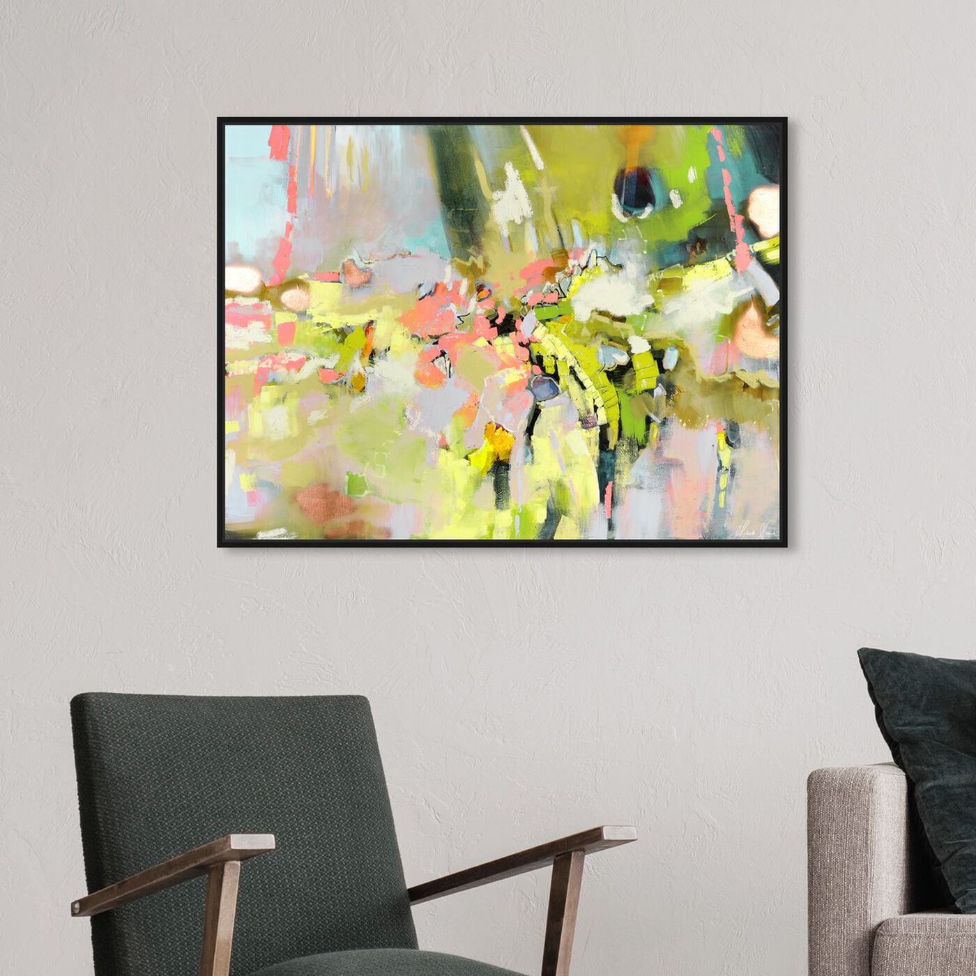 Hanging view of Michaela Nessim - Energy and Breakthrough Bright featuring abstract and paint art.