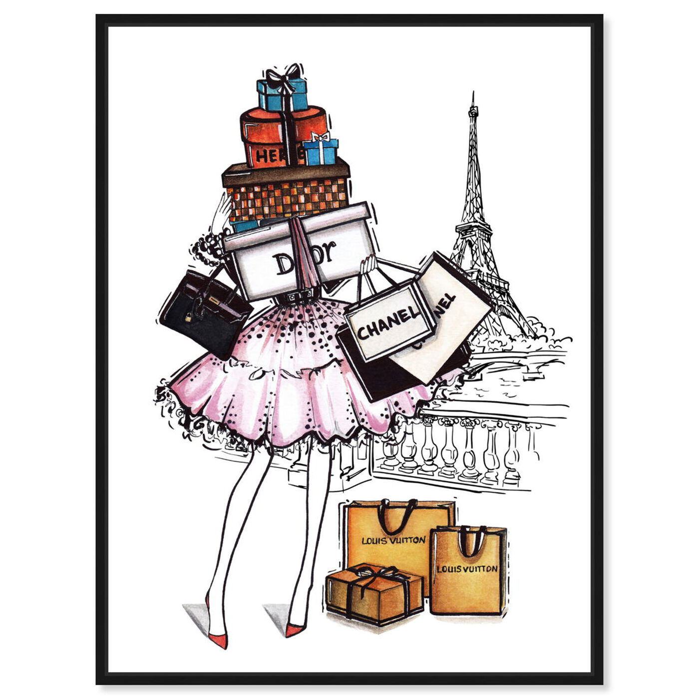 Front view of Doll Memories - Shopping Paris Time II featuring fashion and glam and lifestyle art.