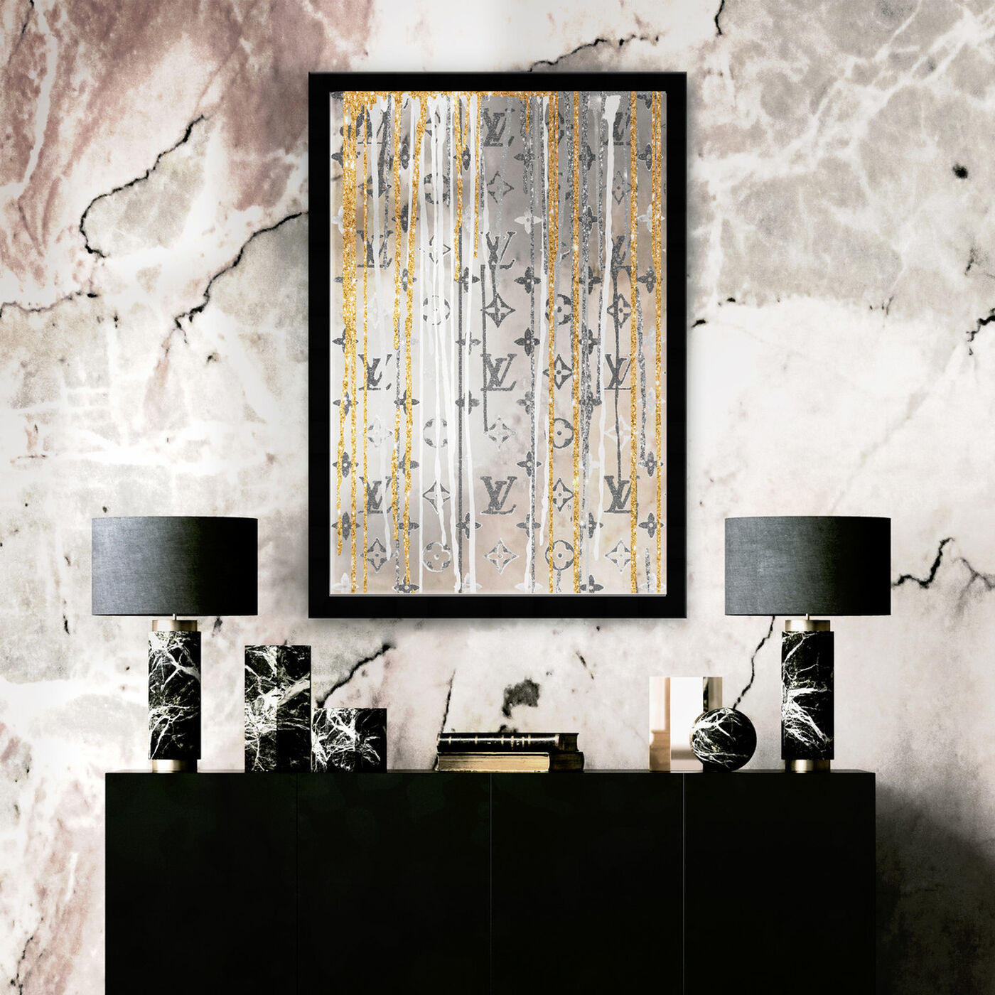 Hanging view of Luxury Drips Black and White Mirror featuring fashion and glam and lifestyle art.