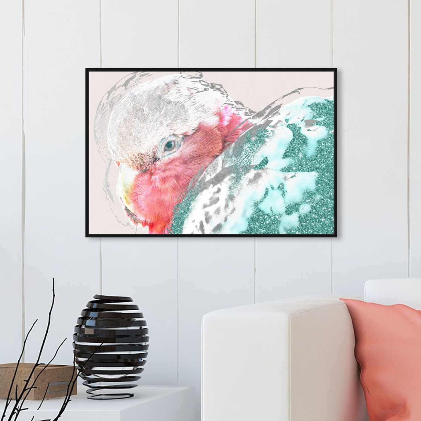 Hanging view of Galah featuring animals and birds art.