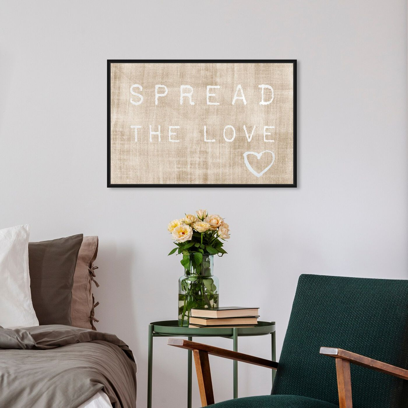 Hanging view of Spread the Love featuring typography and quotes and love quotes and sayings art.