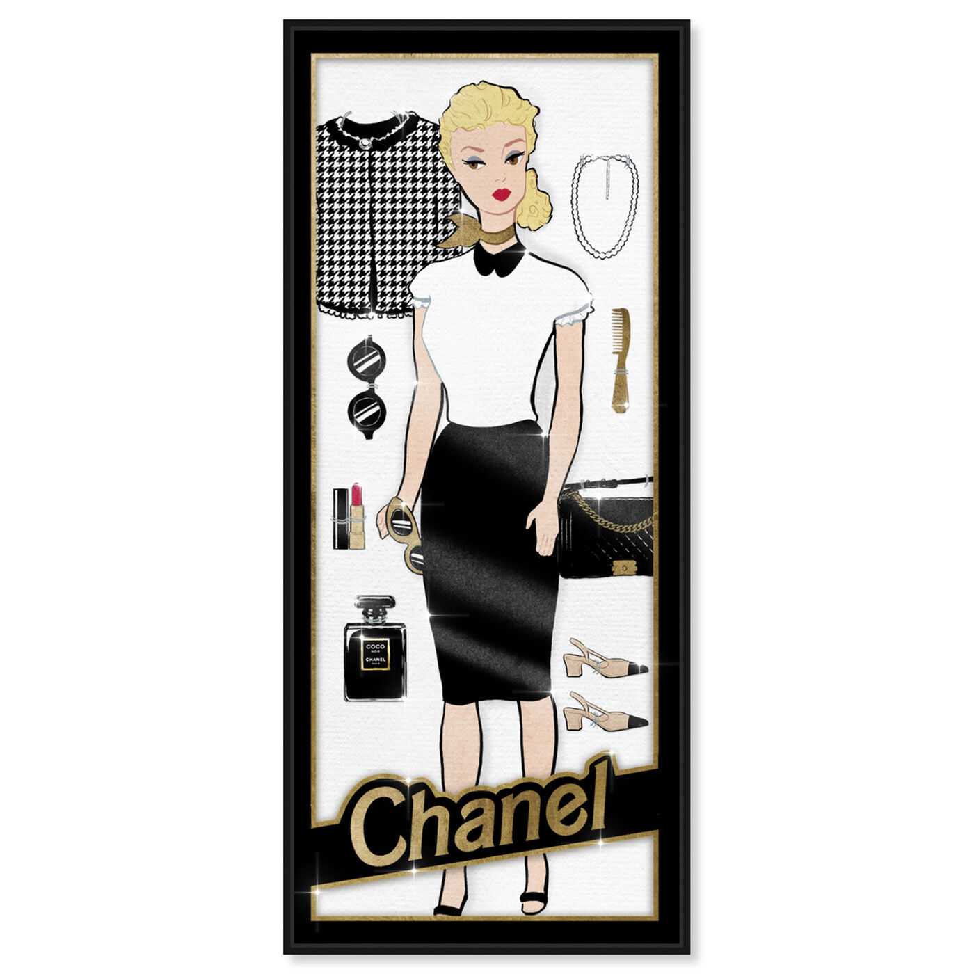 Front view of Paris Doll featuring symbols and objects and toys art.