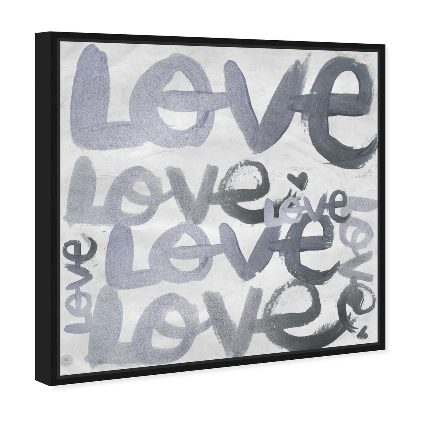 Angled view of Four Letter Word Silver featuring typography and quotes and love quotes and sayings art.