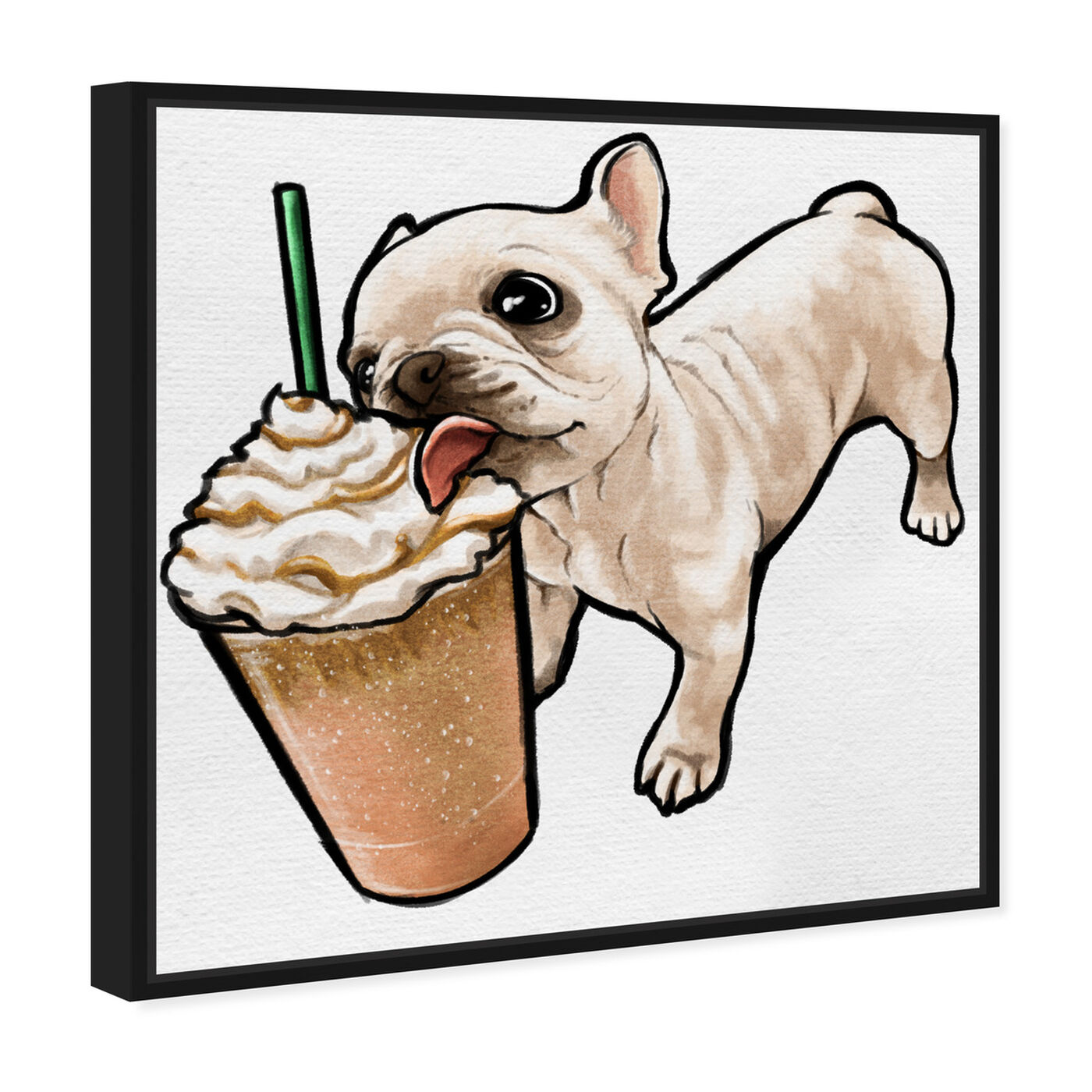 Angled view of Frenchie and Frappe featuring animals and dogs and puppies art.