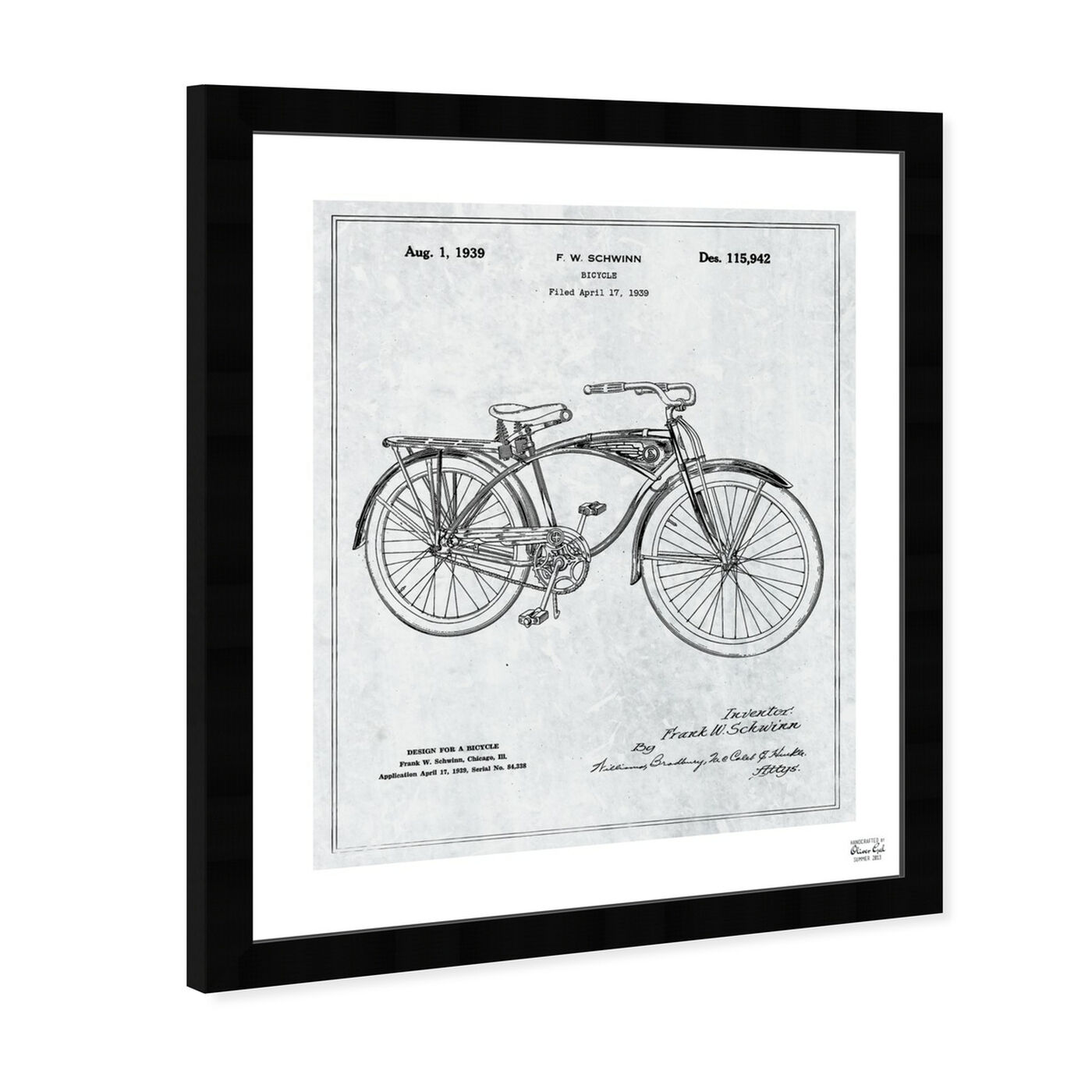 Angled view of Schwinn Bicycle 1939 Grey featuring transportation and bicycles art.