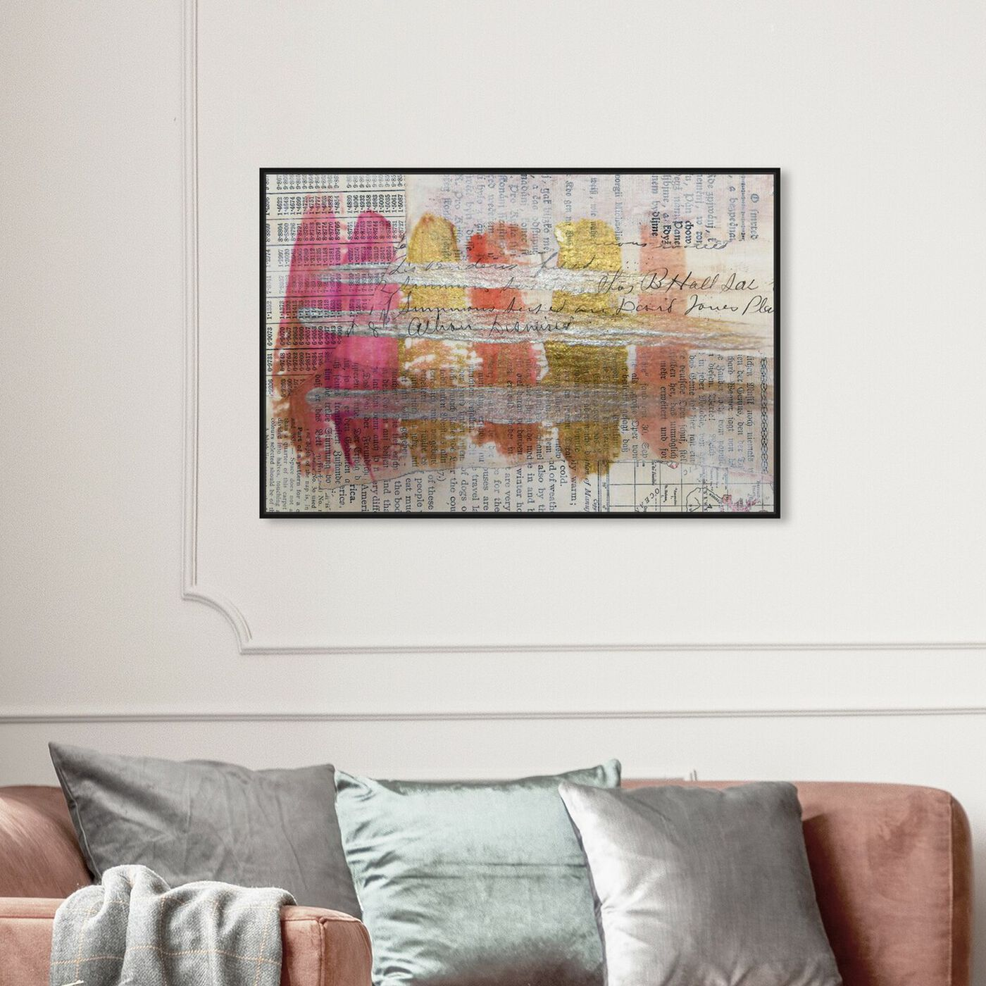 Hanging view of Coral Lipstick - Signature Collection featuring abstract and watercolor art.