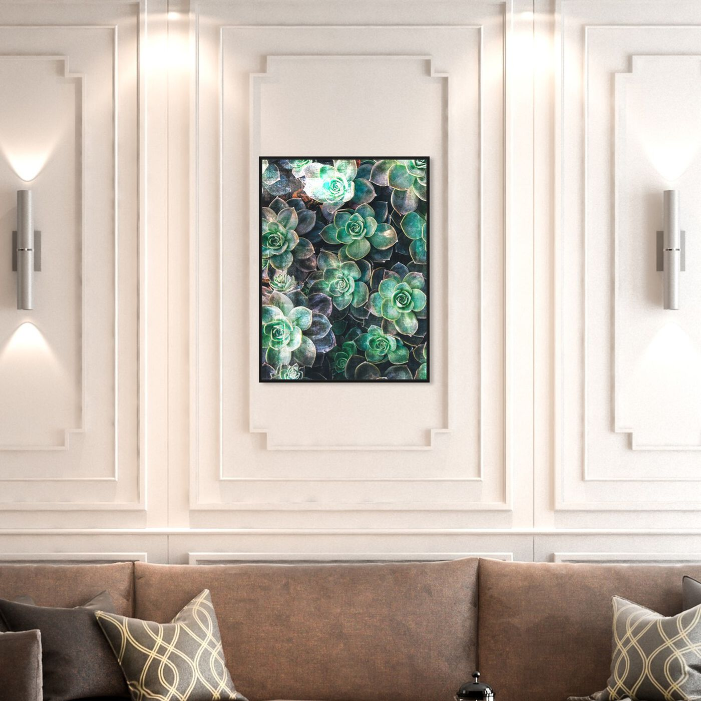 Hanging view of Suculents featuring floral and botanical and botanicals art.