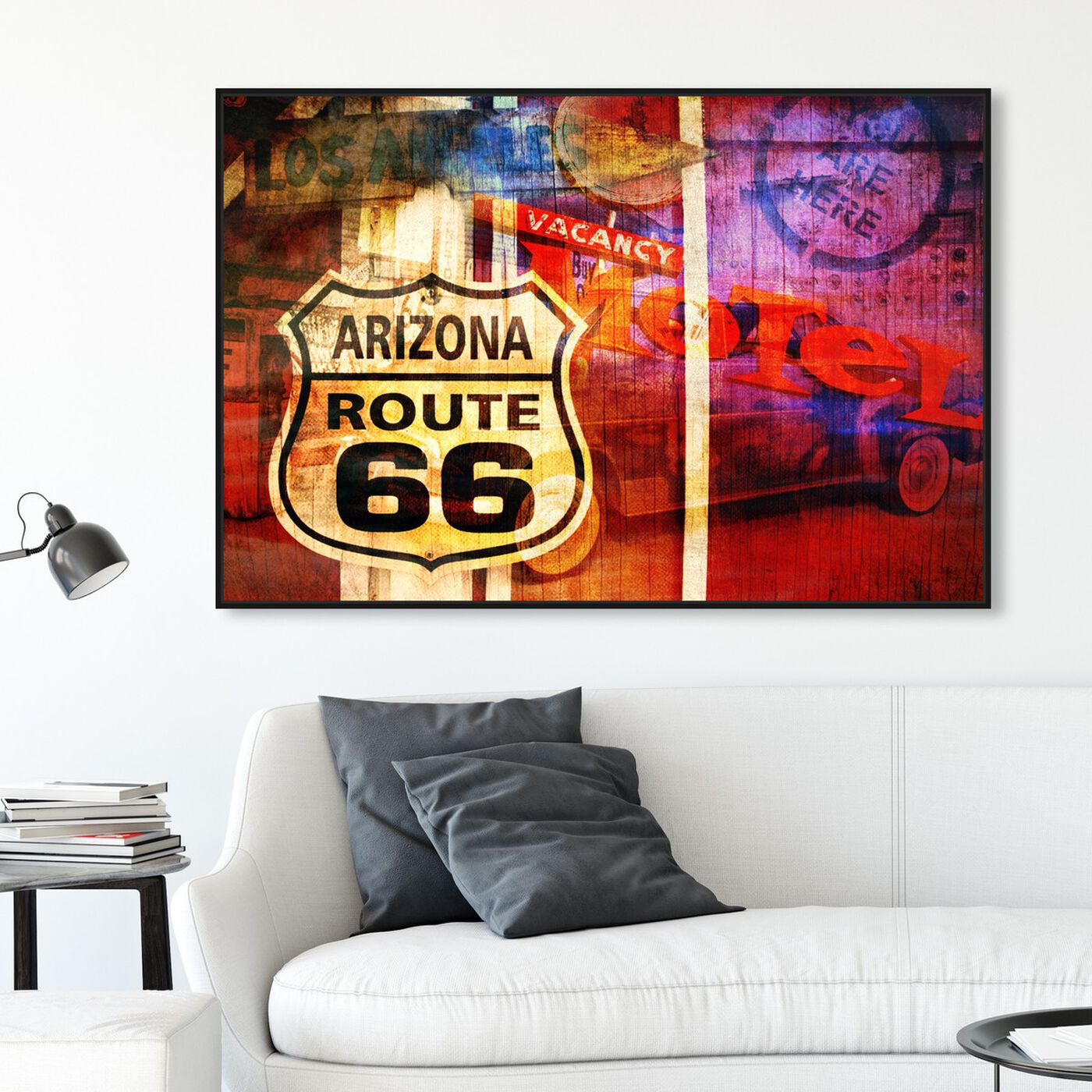 Hanging view of Hit The Road featuring maps and flags and us states maps art.