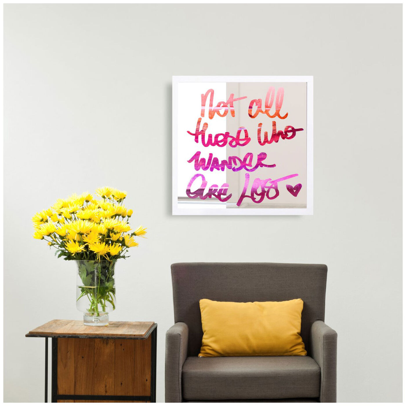 Hanging view of Wander are Lost featuring typography and quotes and motivational quotes and sayings art.