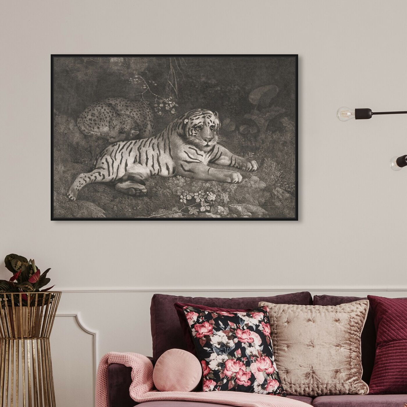 Hanging view of G Stubbs - A Tiger Sleeping and a Leopard 1788 featuring animals and felines art.