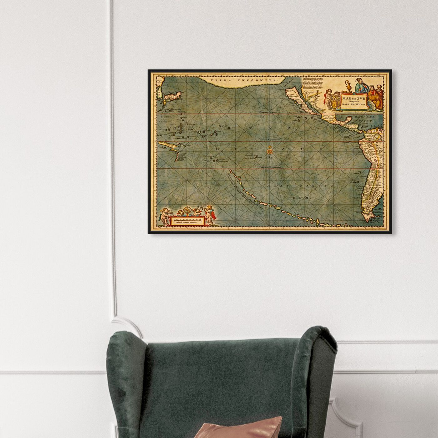 Hanging view of Mare Pacificum Map 1600s featuring maps and flags and nautical maps art.