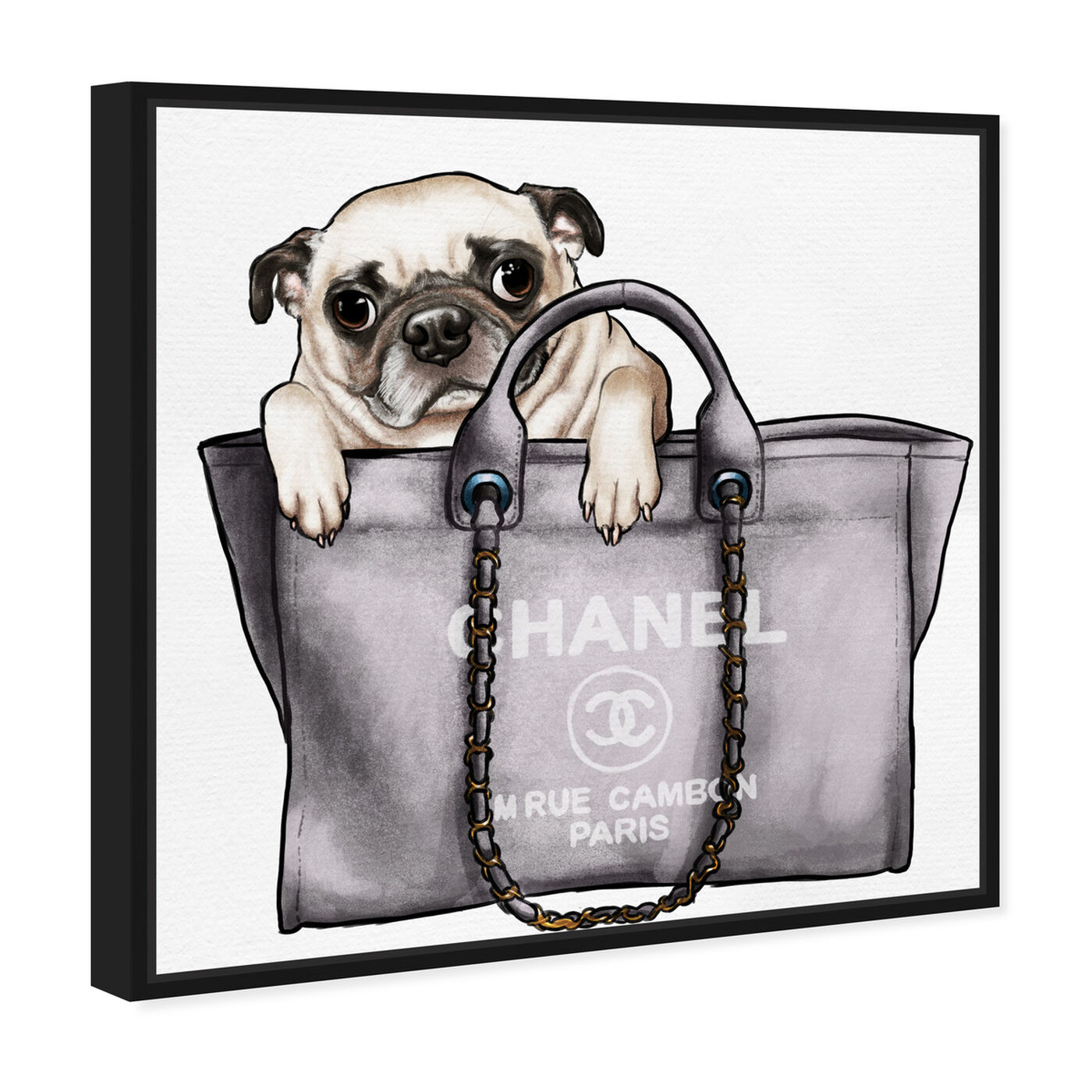 Angled view of Pug in the Bag featuring fashion and glam and handbags art.