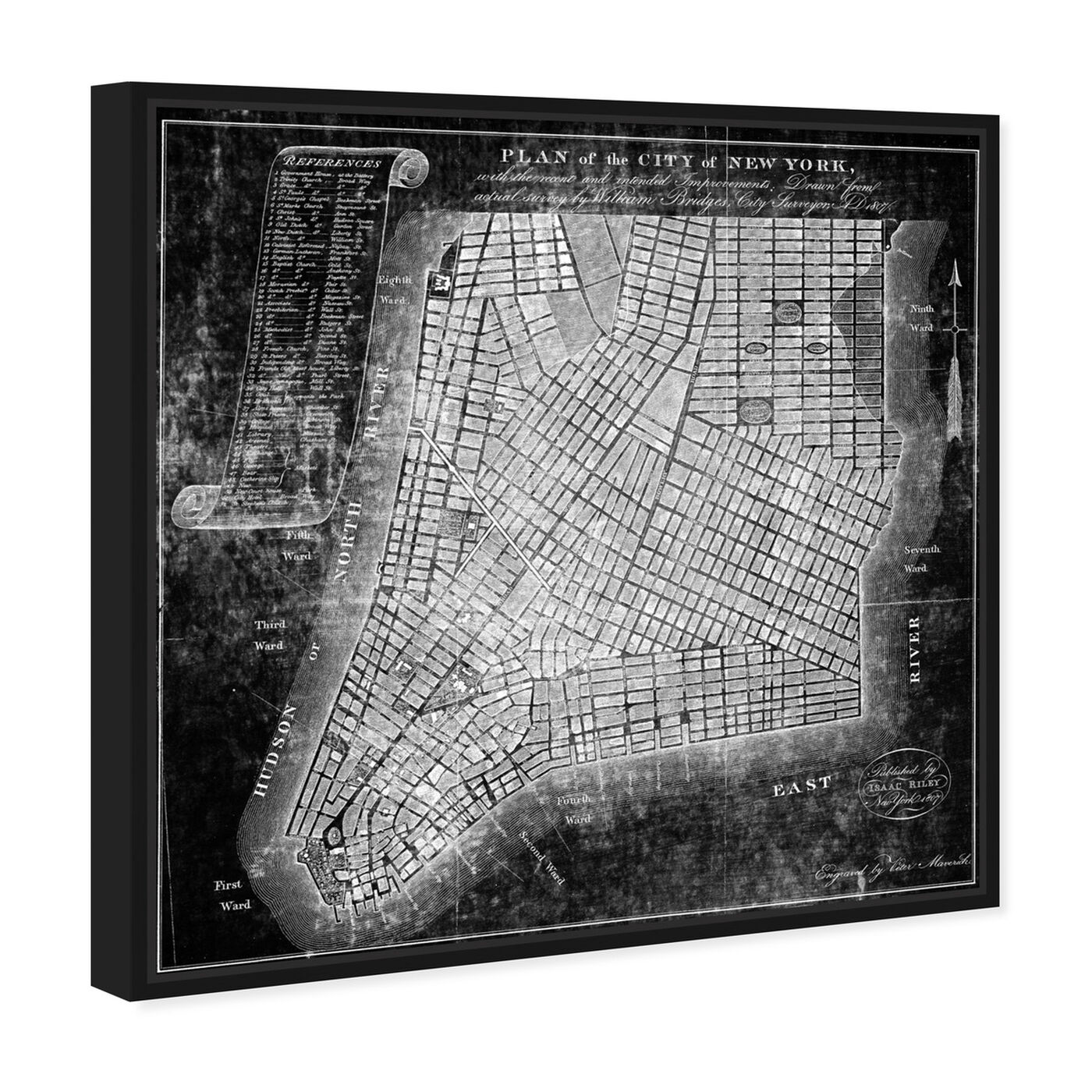 Angled view of Map of the City of NY 1871 featuring maps and flags and us cities maps art.