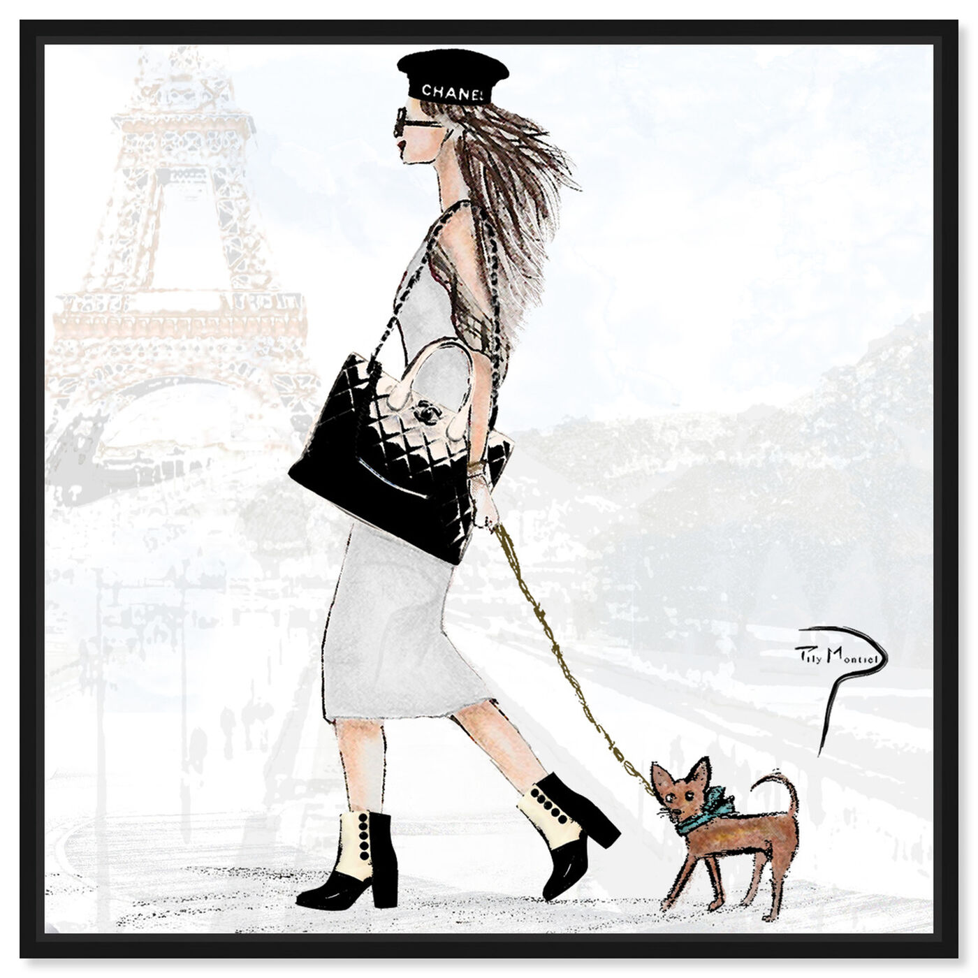 Front view of Pily Montiel - National puppy day featuring fashion and glam and outfits art.