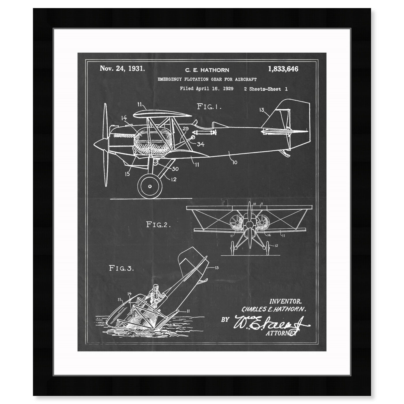 Front view of Emergency Flotation Gear For Aircraft 1931 featuring transportation and airplanes art.