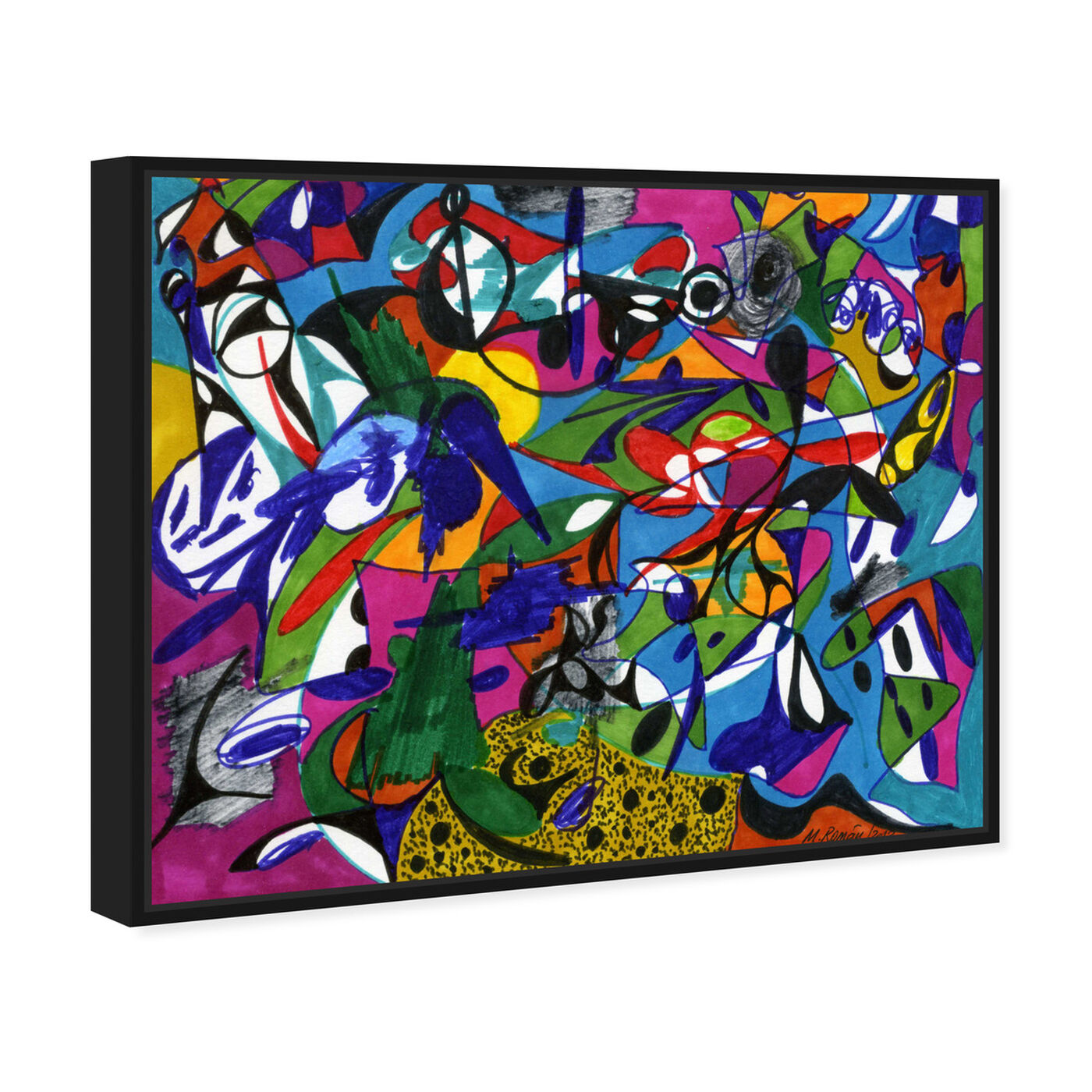 Angled view of Cacophony featuring abstract and shapes art.