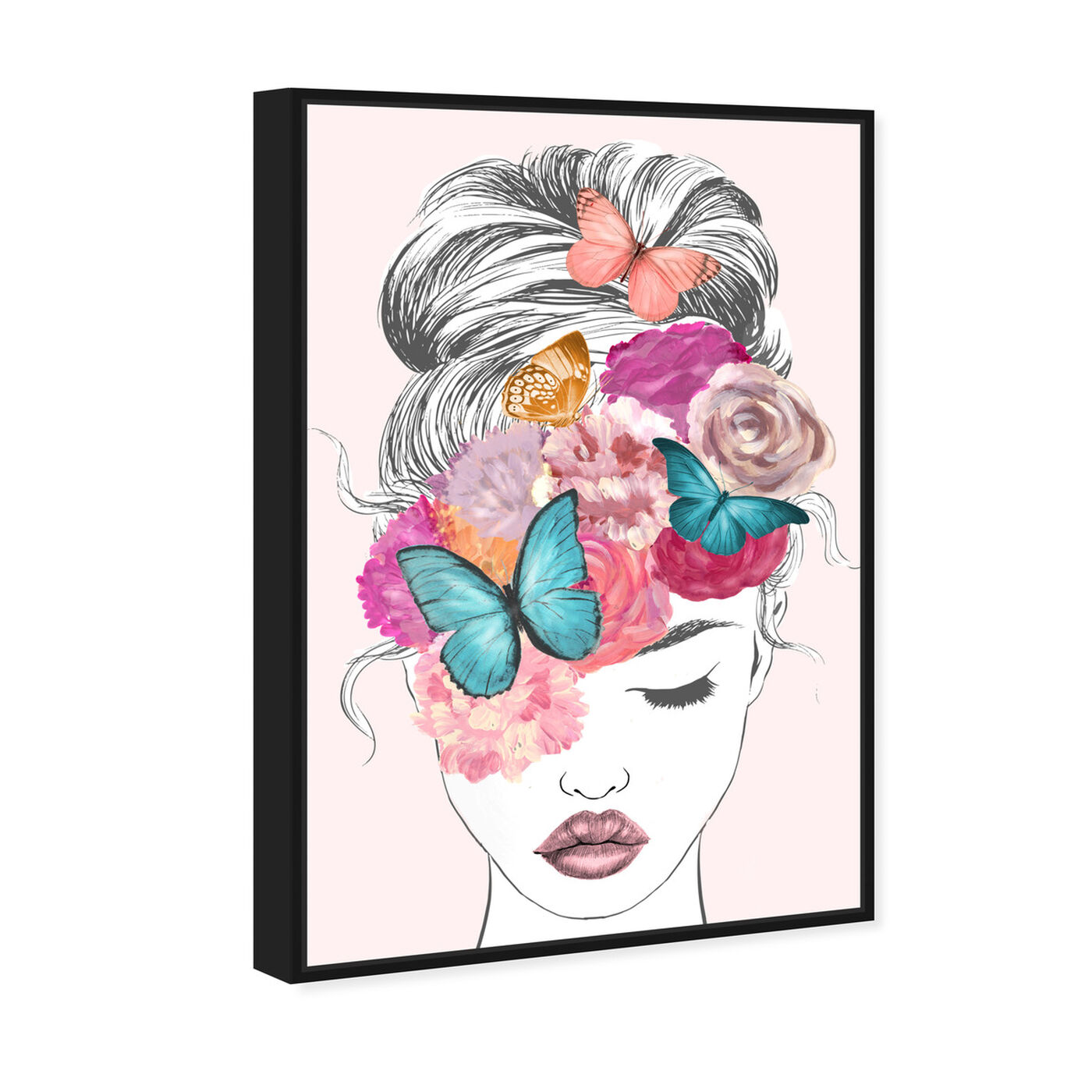 Angled view of Butterflies in My Head featuring fashion and glam and portraits art.