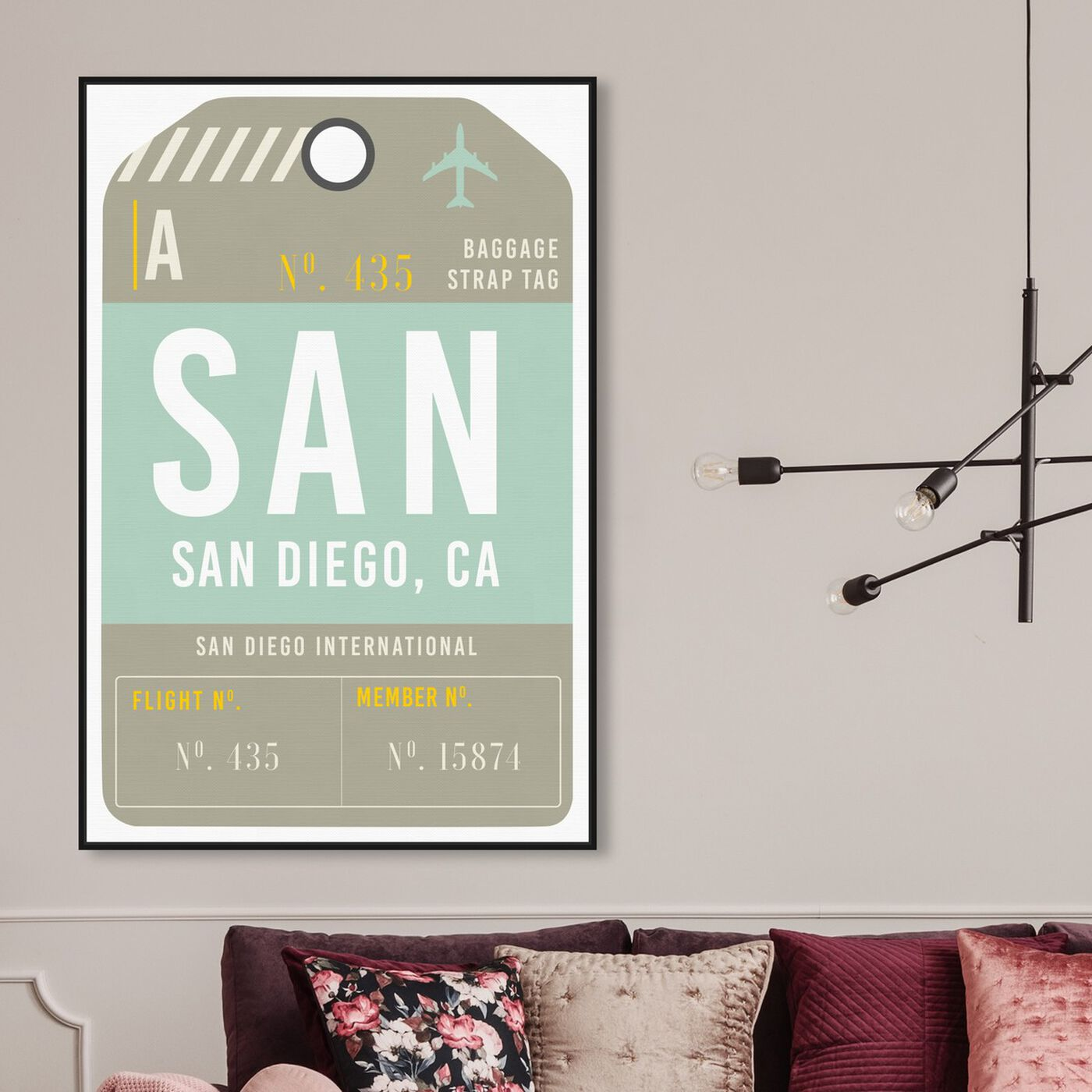 Hanging view of San Diego Luggage Tag featuring cities and skylines and united states cities art.