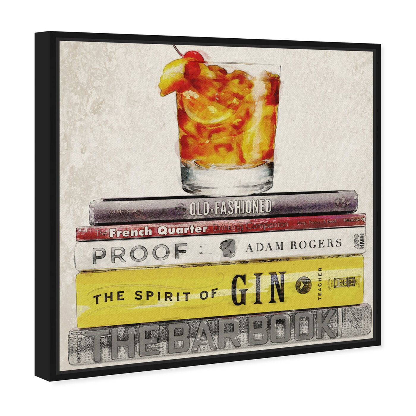 Angled view of Bar Books featuring drinks and spirits and cocktails art.