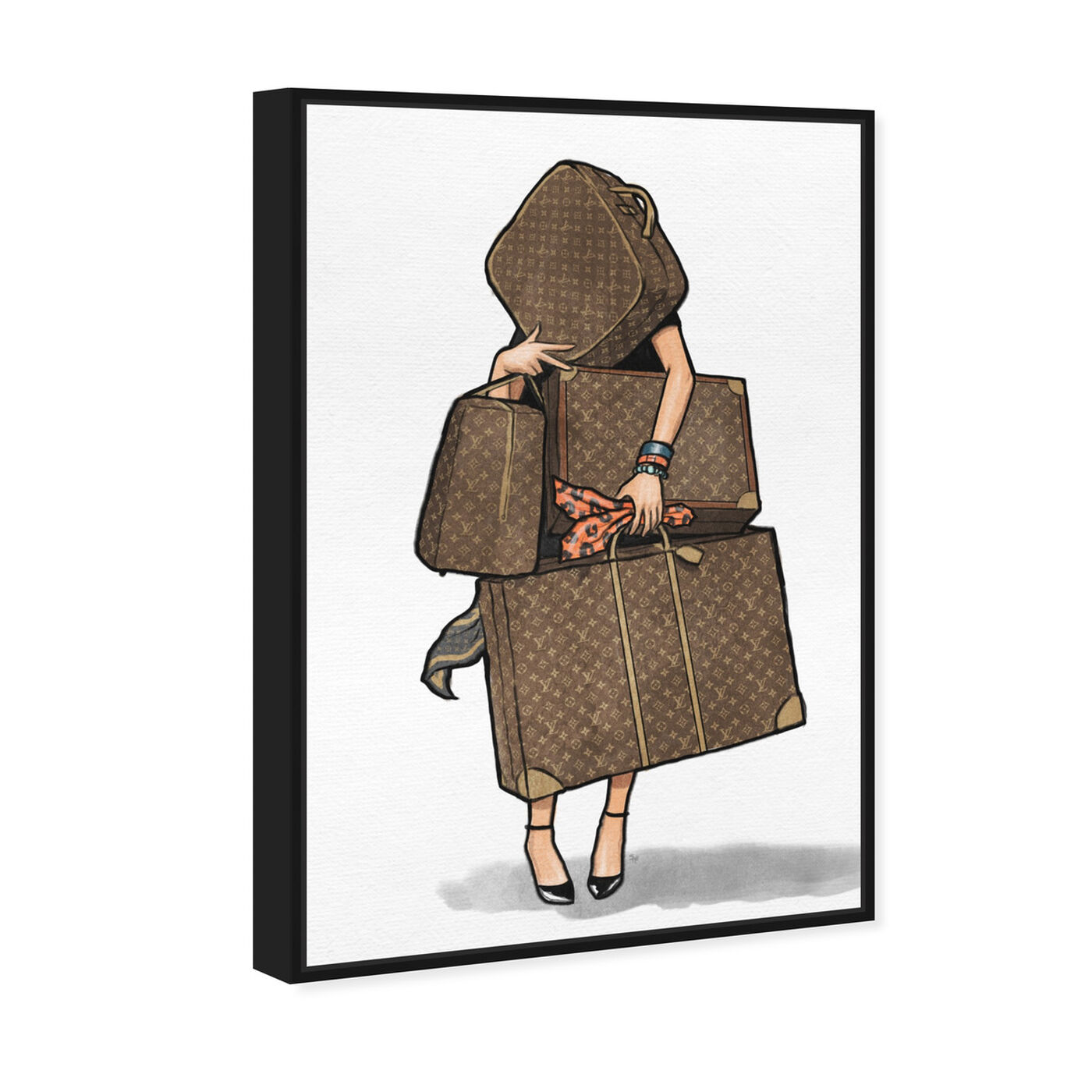 Angled view of Bags, Bags, Bags- Orange I featuring fashion and glam and travel essentials art.