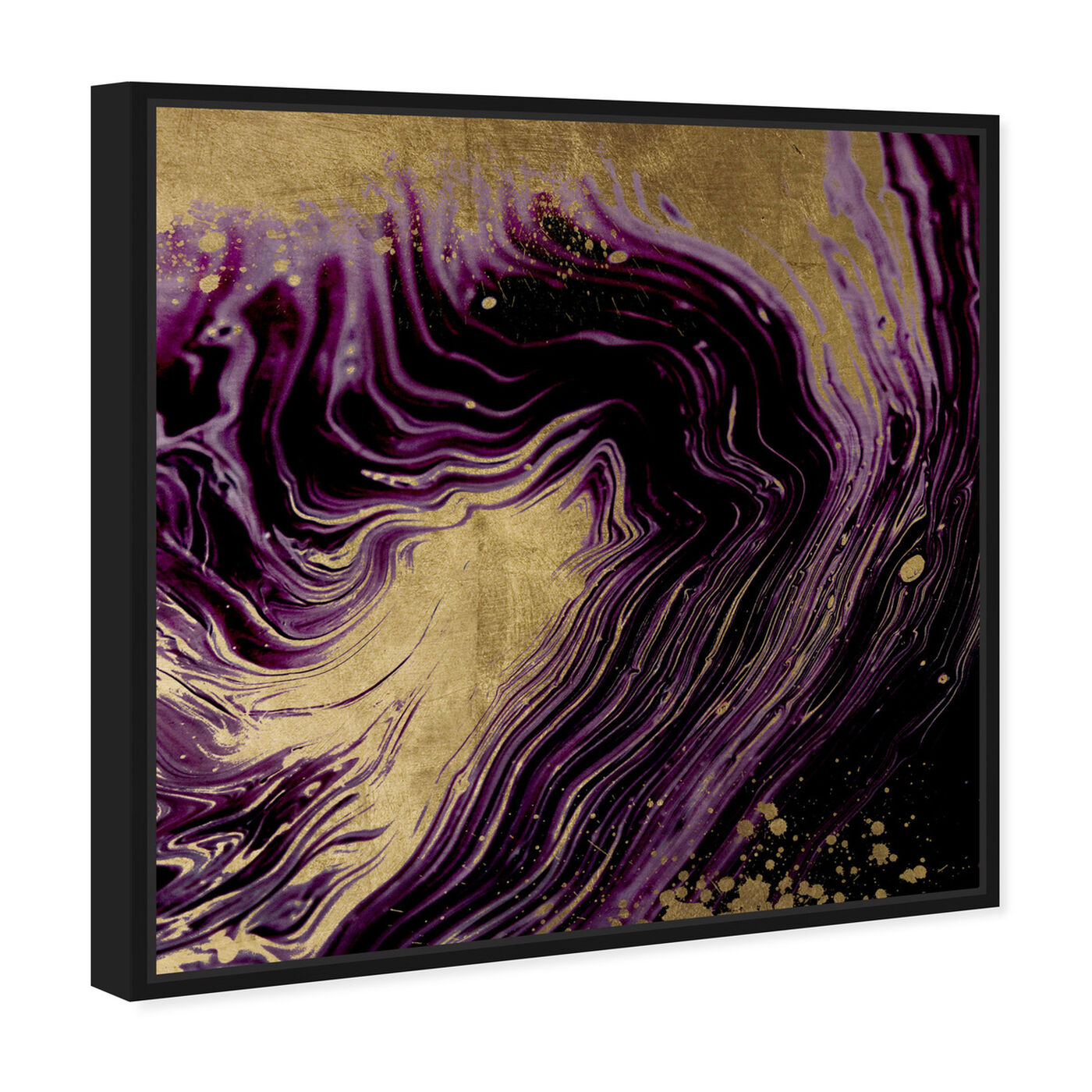 Angled view of Plum and Gold Agate featuring abstract and crystals art.