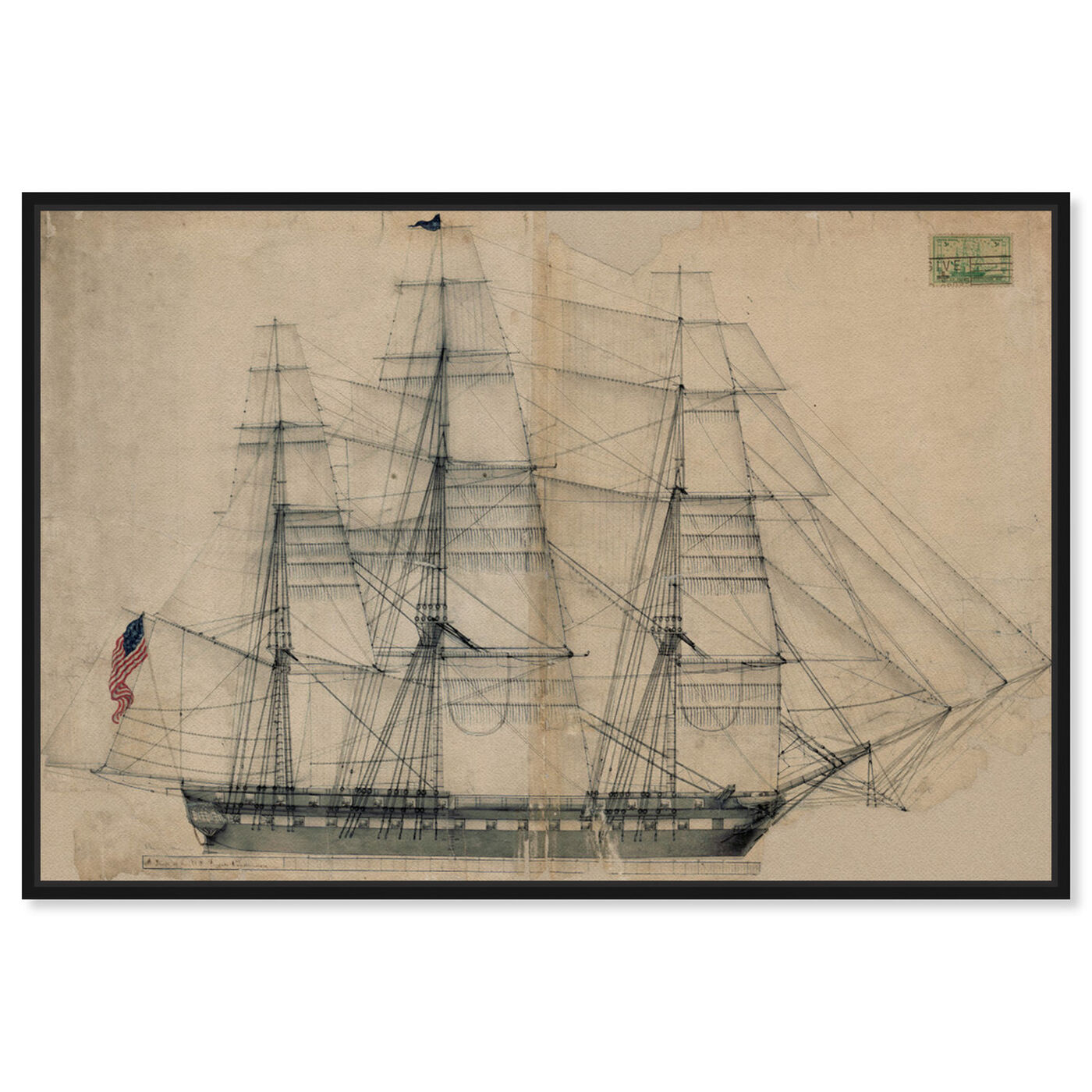 Front view of USS Constitution Sail Plan 1817 featuring nautical and coastal and nautical watercrafts art.
