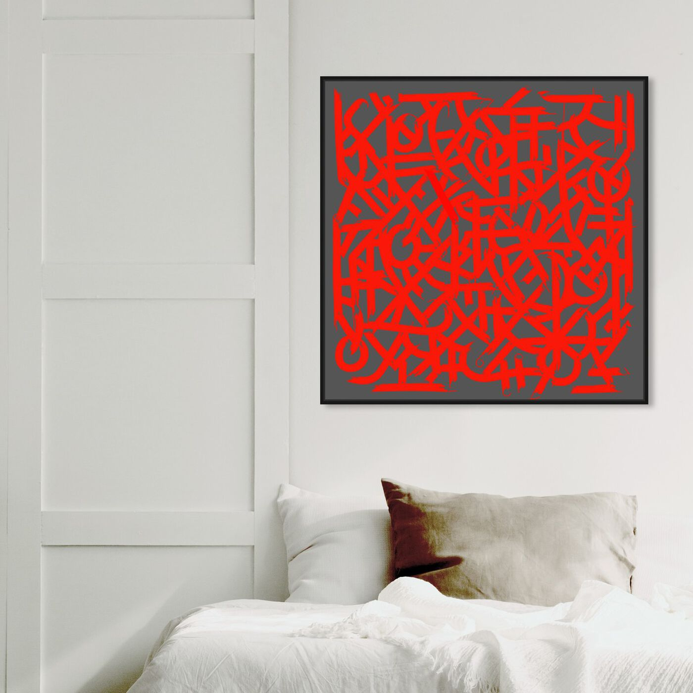 Hanging view of Matt Bentley Hoover - Red featuring abstract and patterns art.