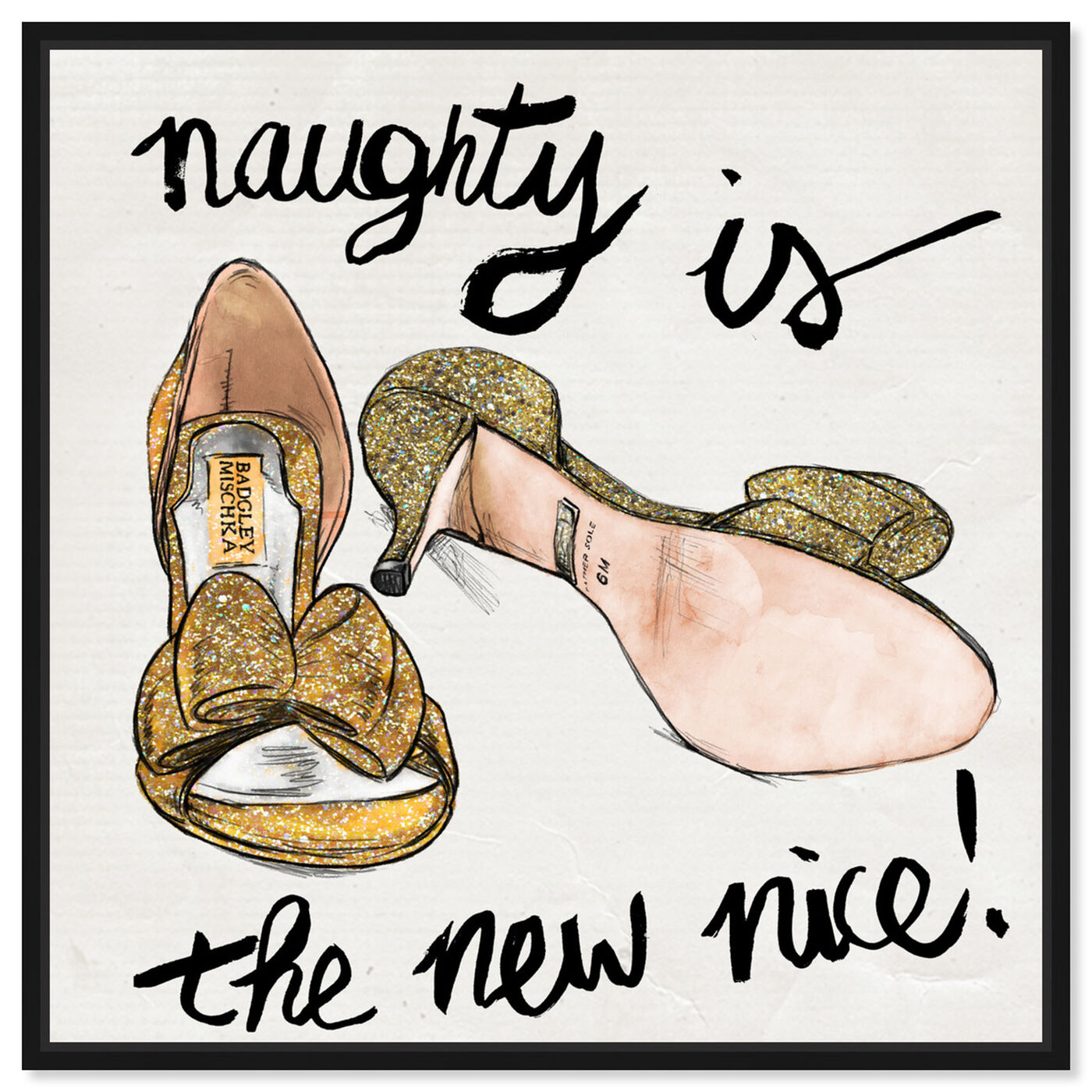 Front view of Naughty featuring fashion and glam and shoes art.