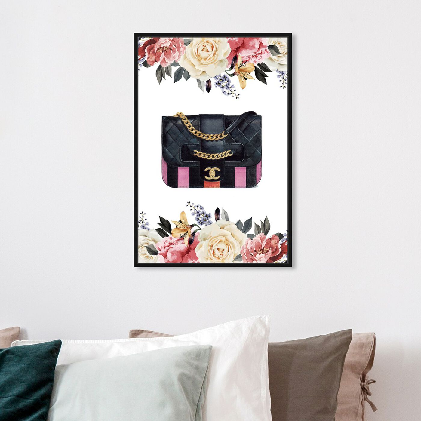 Hanging view of Doll Memories - Flower Party Bag featuring fashion and glam and handbags art.