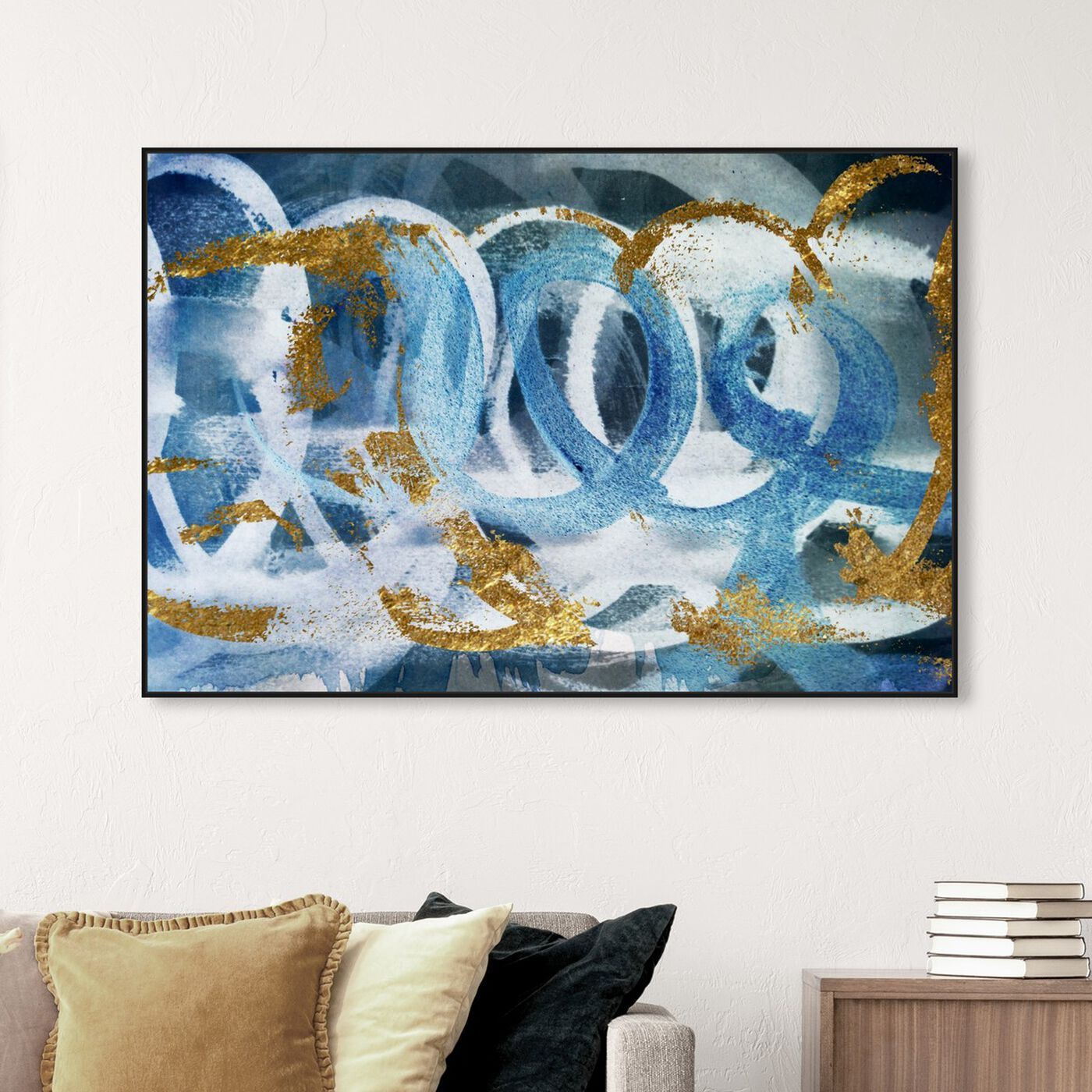 Hanging view of Scriptica GOLD and BLUE featuring abstract and paint art.