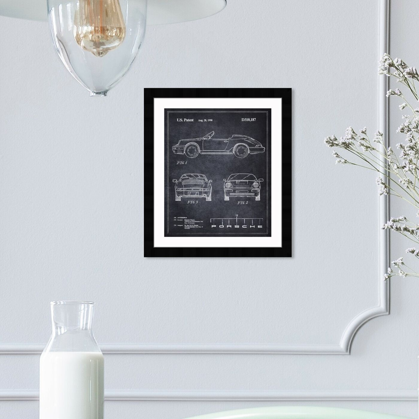 Hanging view of Porsche 911, 1990 I featuring transportation and automobiles art.