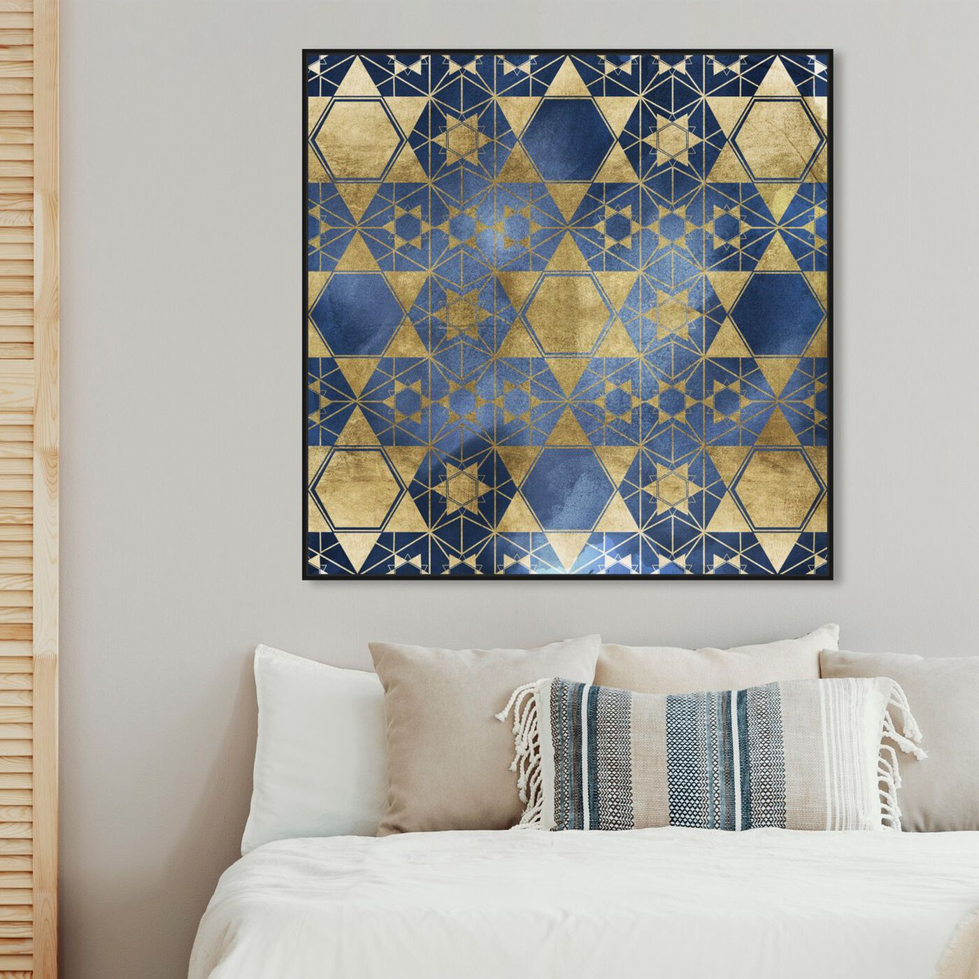 Hanging view of Golden Blue Star Decorative featuring abstract and patterns art.