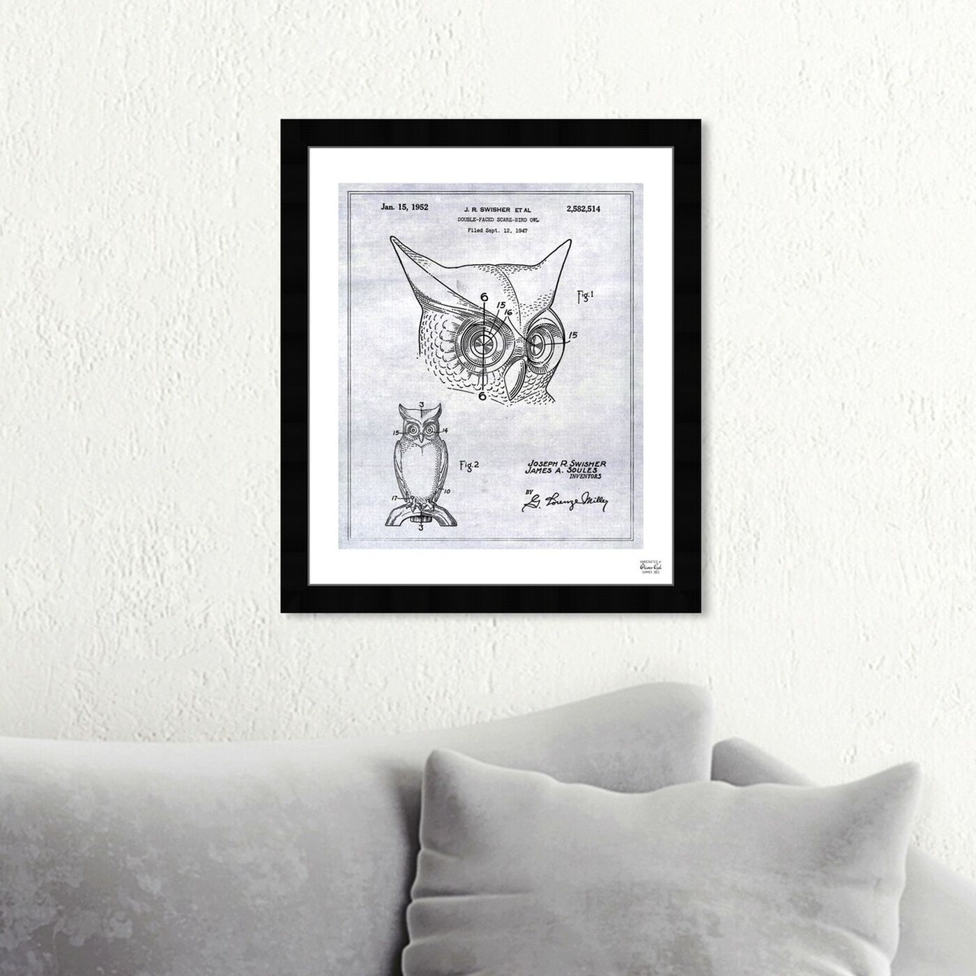 Hanging view of Owl 1952 featuring animals and birds art.