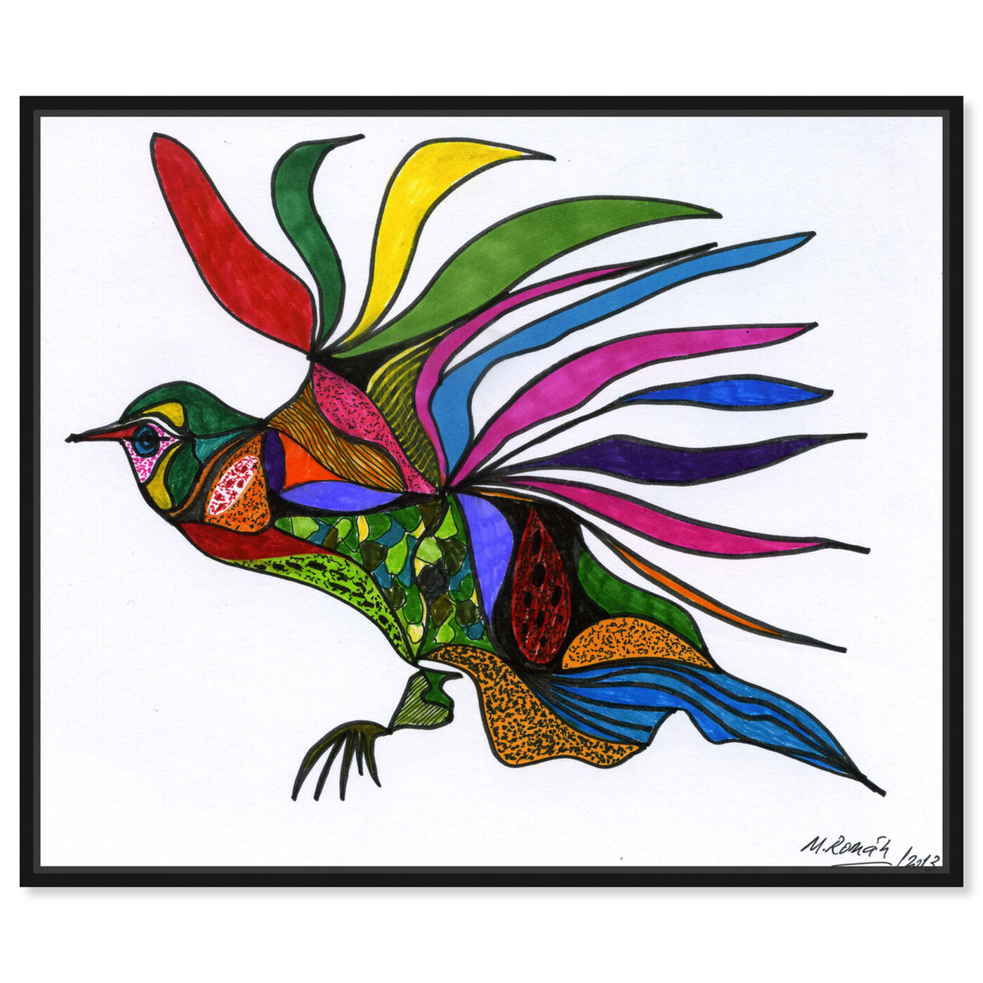 Front view of Bird of Paradise featuring animals and birds art.