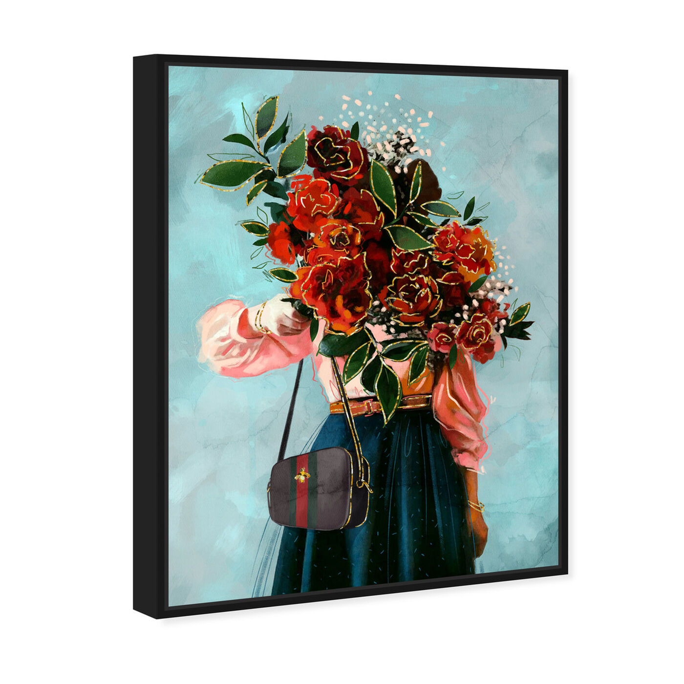Angled view of Roses in View featuring floral and botanical and florals art.