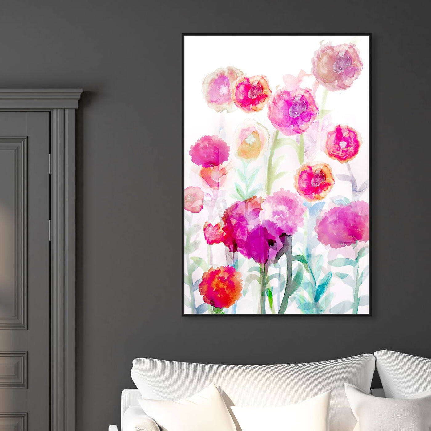 Hanging view of Lolas Garden Bright featuring floral and botanical and gardens art.