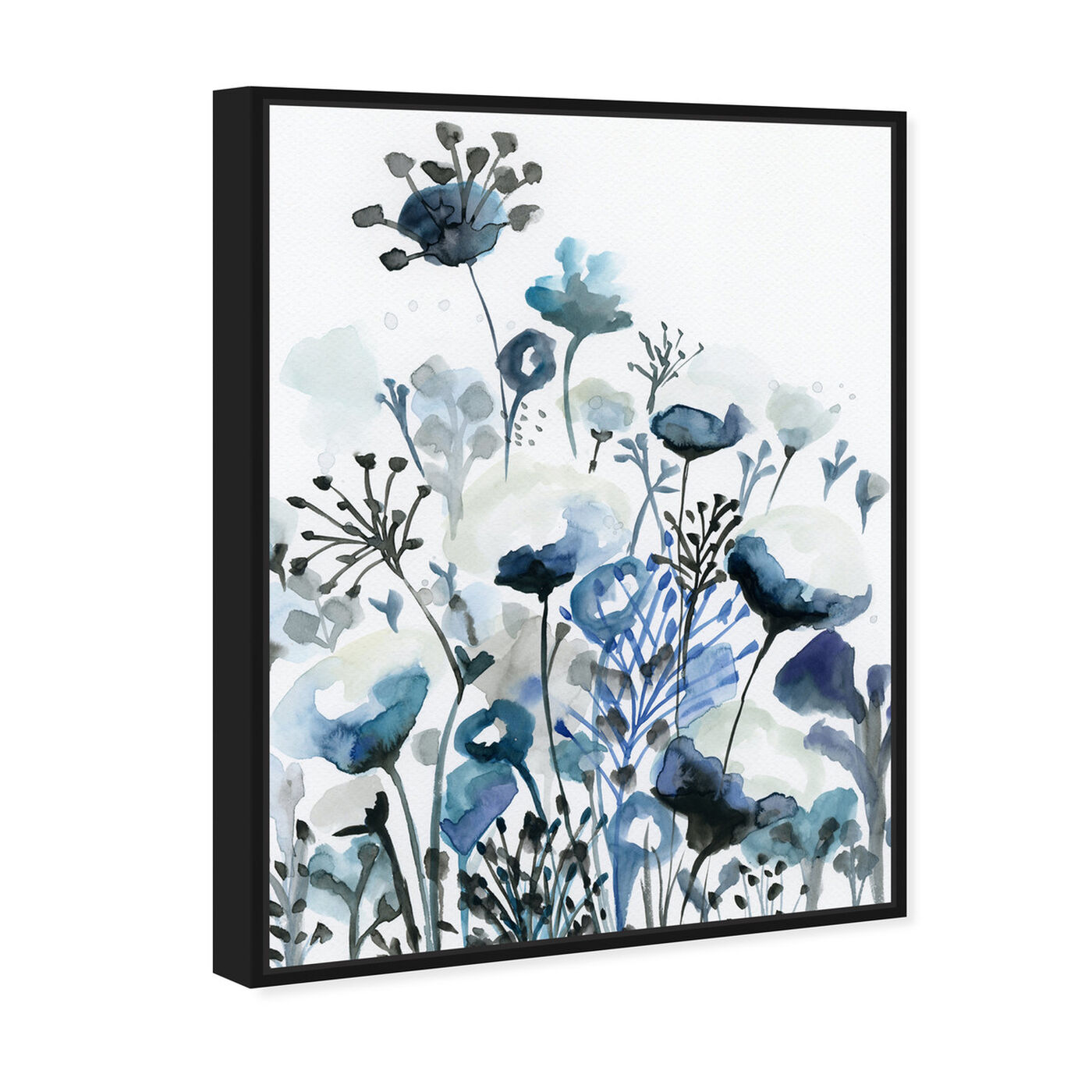 Angled view of Deep Blue Forest featuring floral and botanical and gardens art.