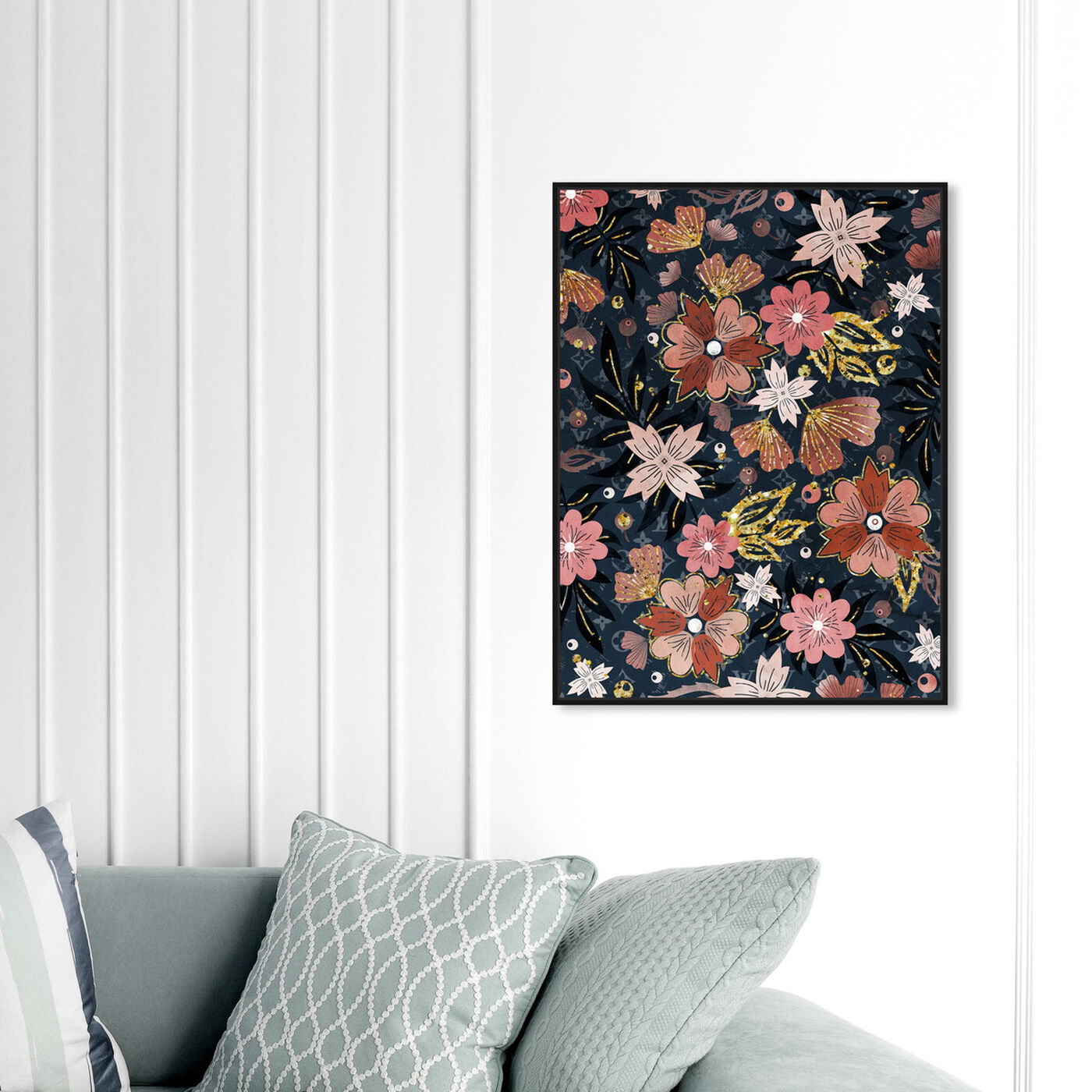 Hanging view of Vintage Teal featuring floral and botanical and florals art.