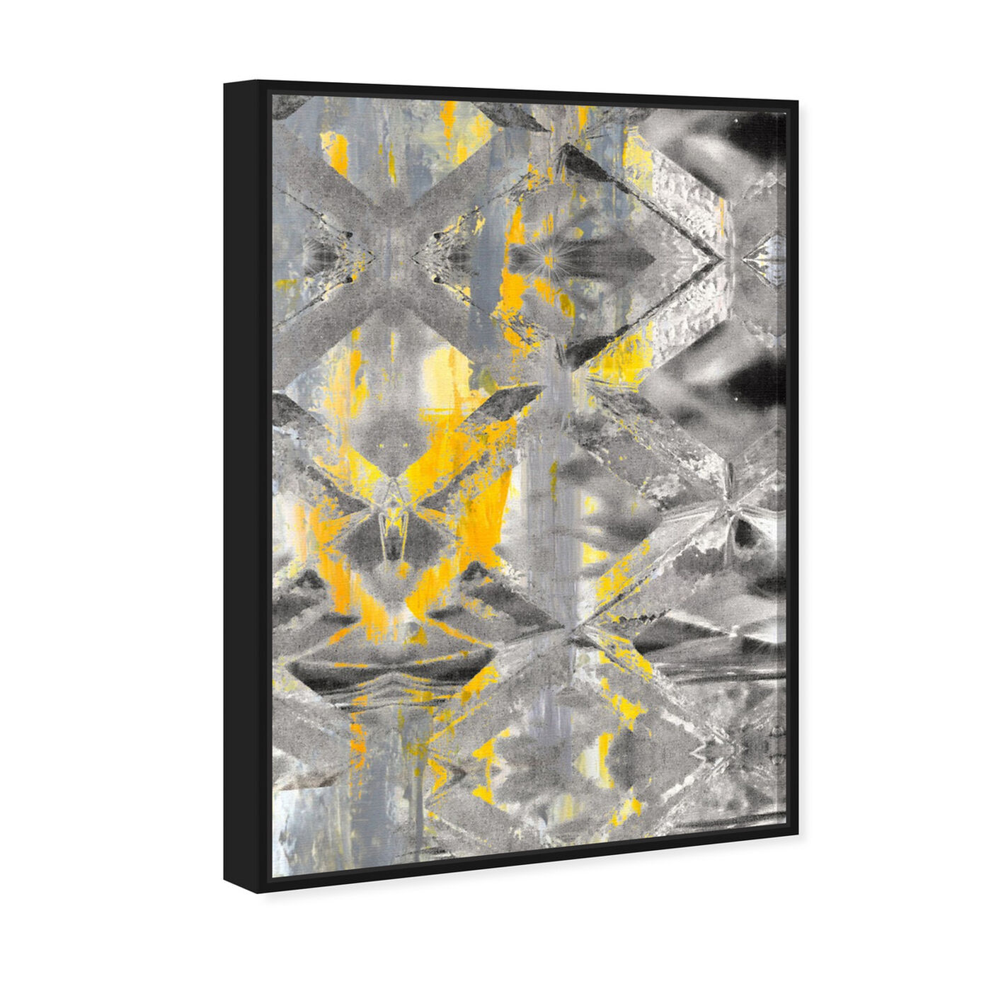 Angled view of Gris Roca featuring abstract and crystals art.