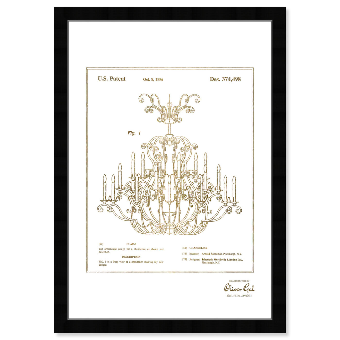 Front view of Chandelier 1996 Gold featuring classic and figurative and french décor art.