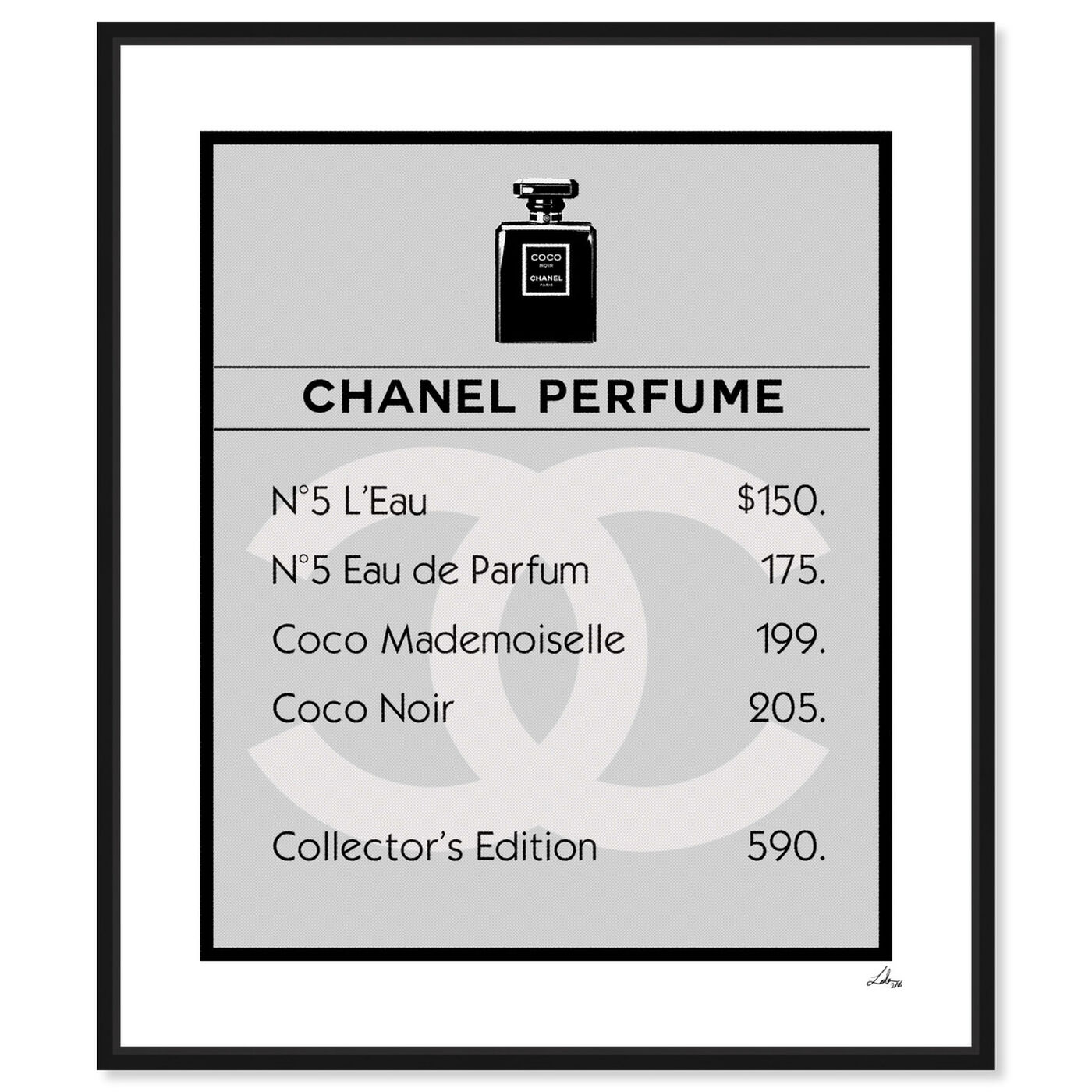 Front view of Property Card N5 featuring fashion and glam and perfumes art.