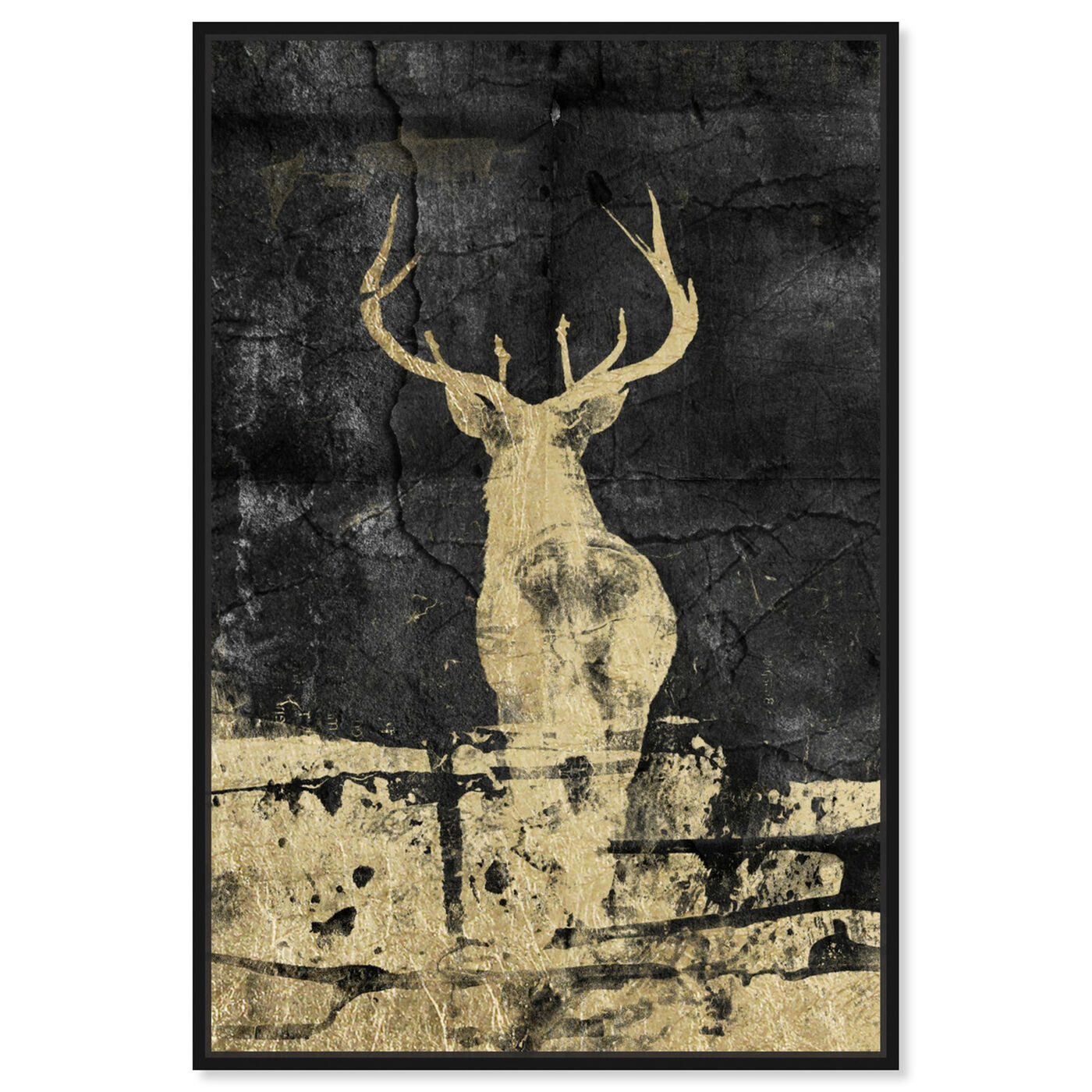 Front view of Gold Stag I featuring animals and zoo and wild animals art.