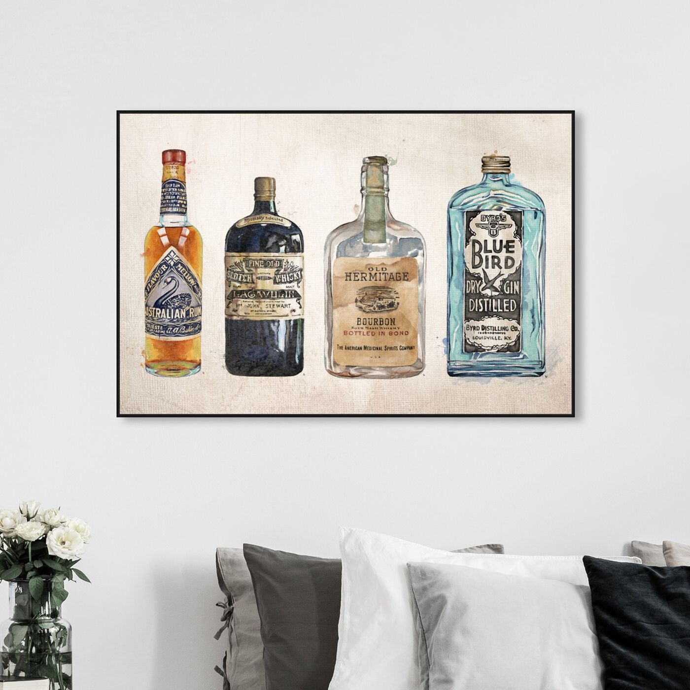 Hanging view of Vintage Liquors featuring drinks and spirits and liquor art.