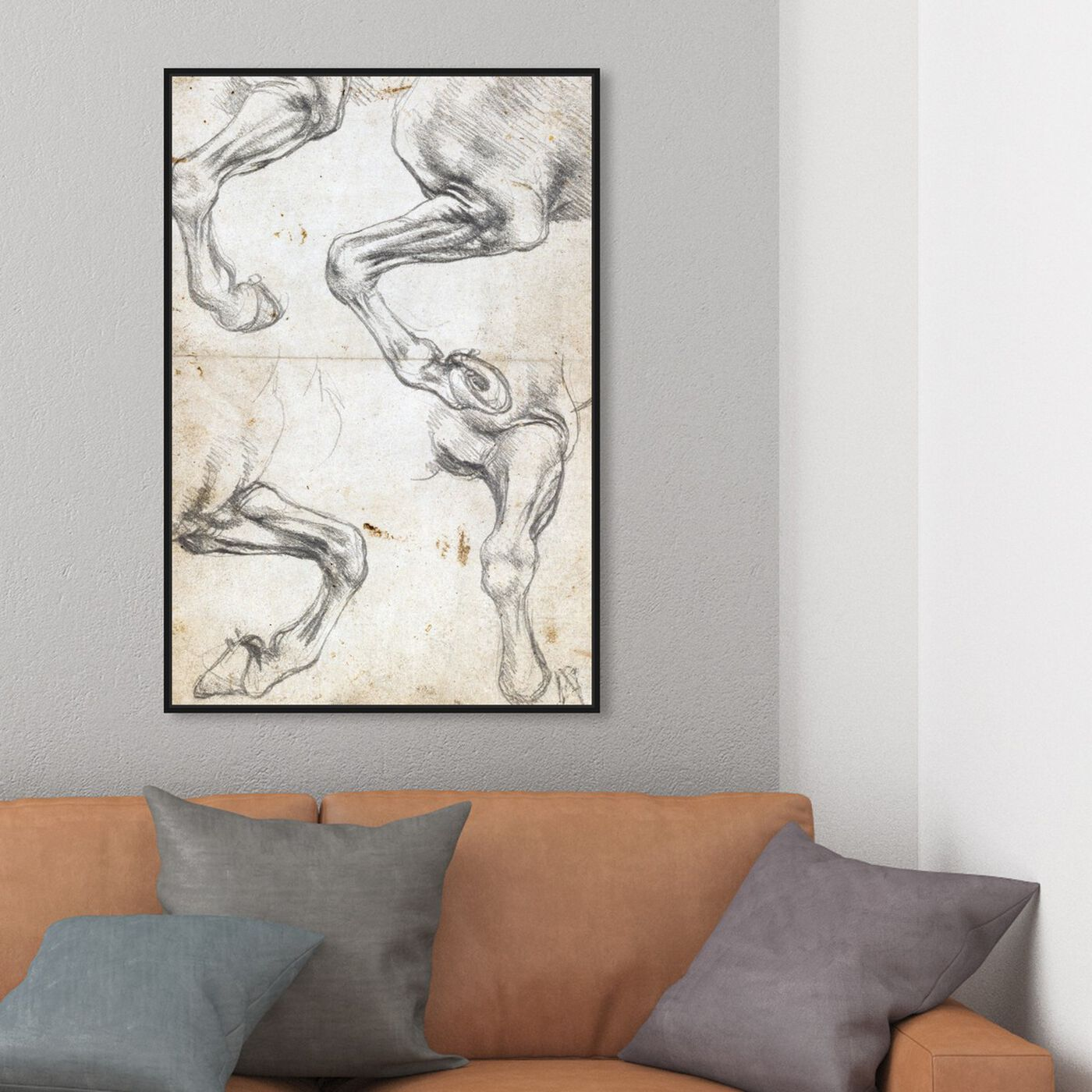 Hanging view of Da Vinci - Horse Studies I featuring animals and farm animals art.
