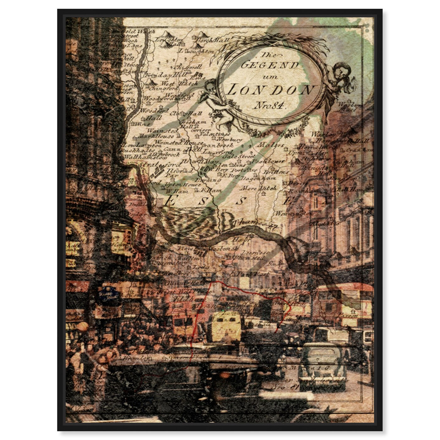 Front view of London Classic featuring maps and flags and european cities maps art.