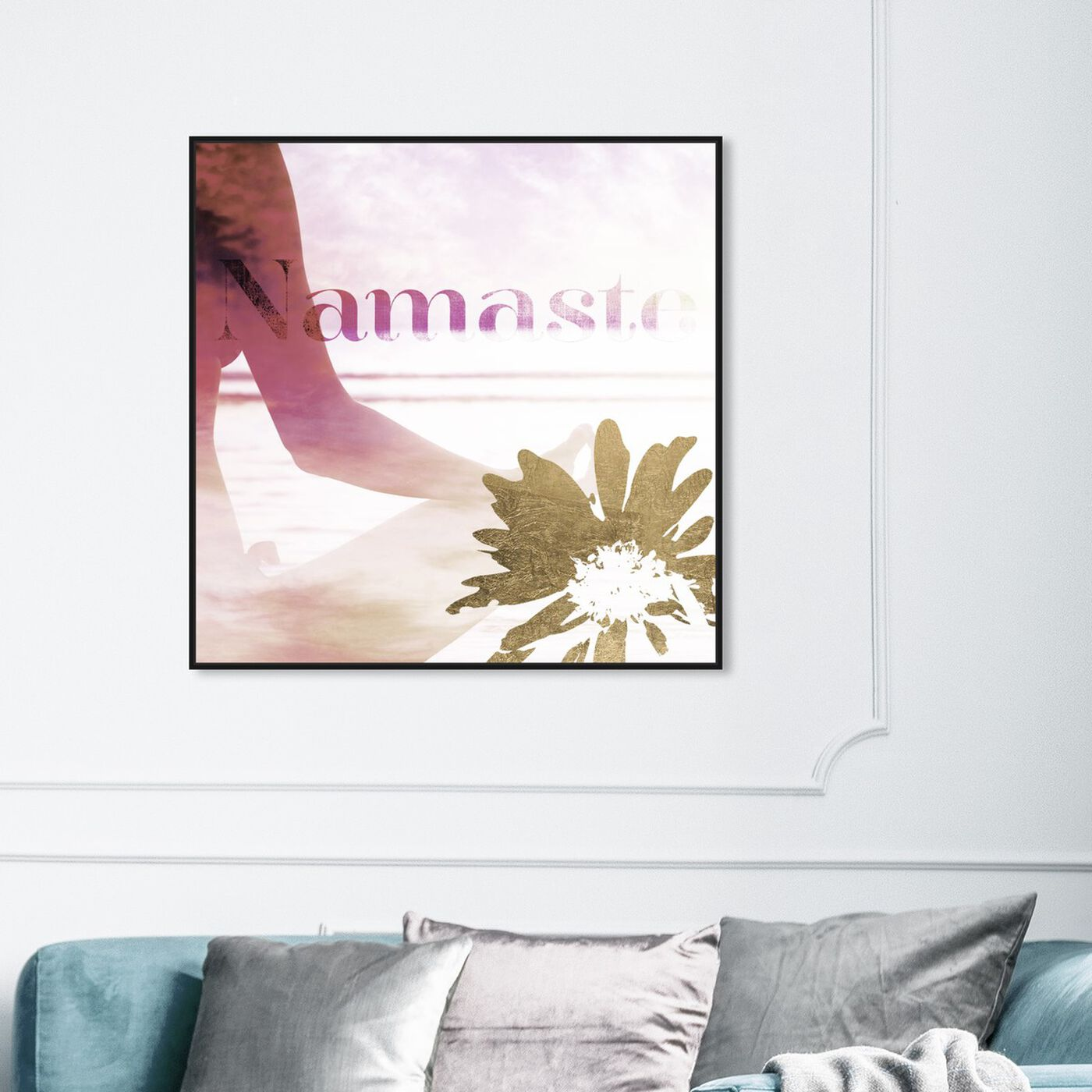 Hanging view of Namaste featuring typography and quotes and quotes and sayings art.