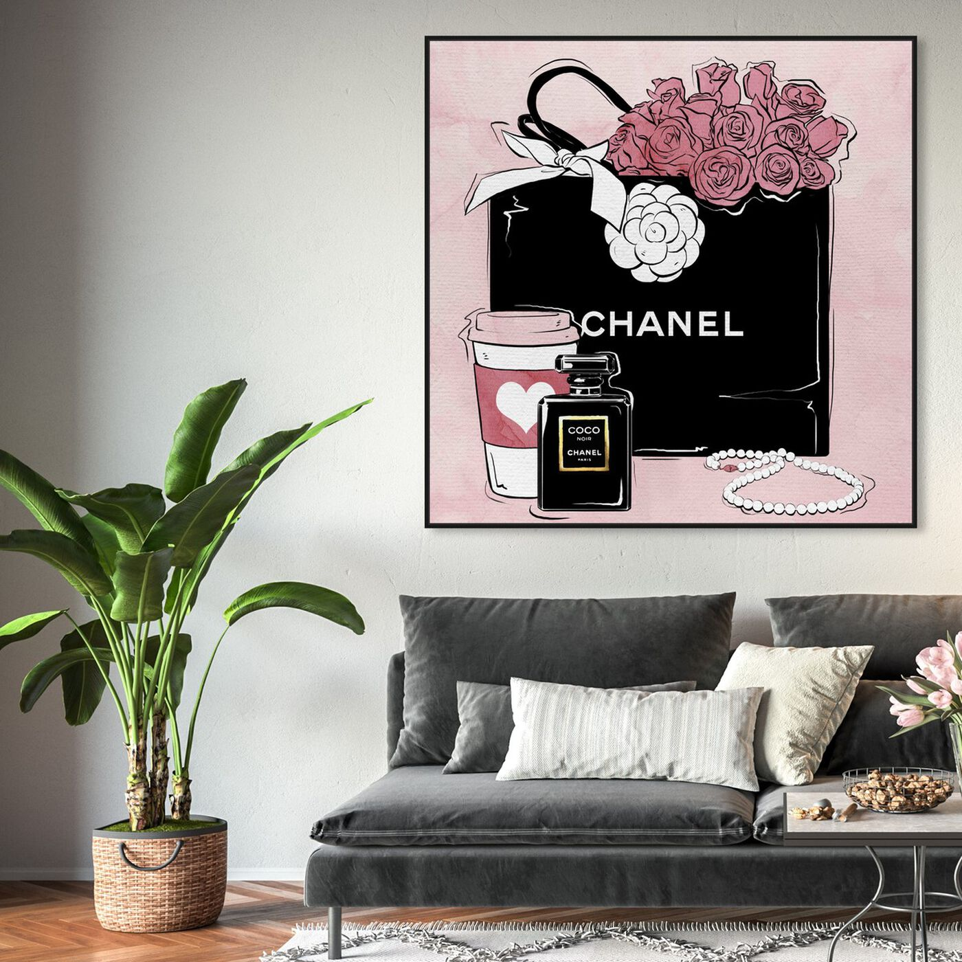 Hanging view of Shopping and Coffee featuring fashion and glam and handbags art.